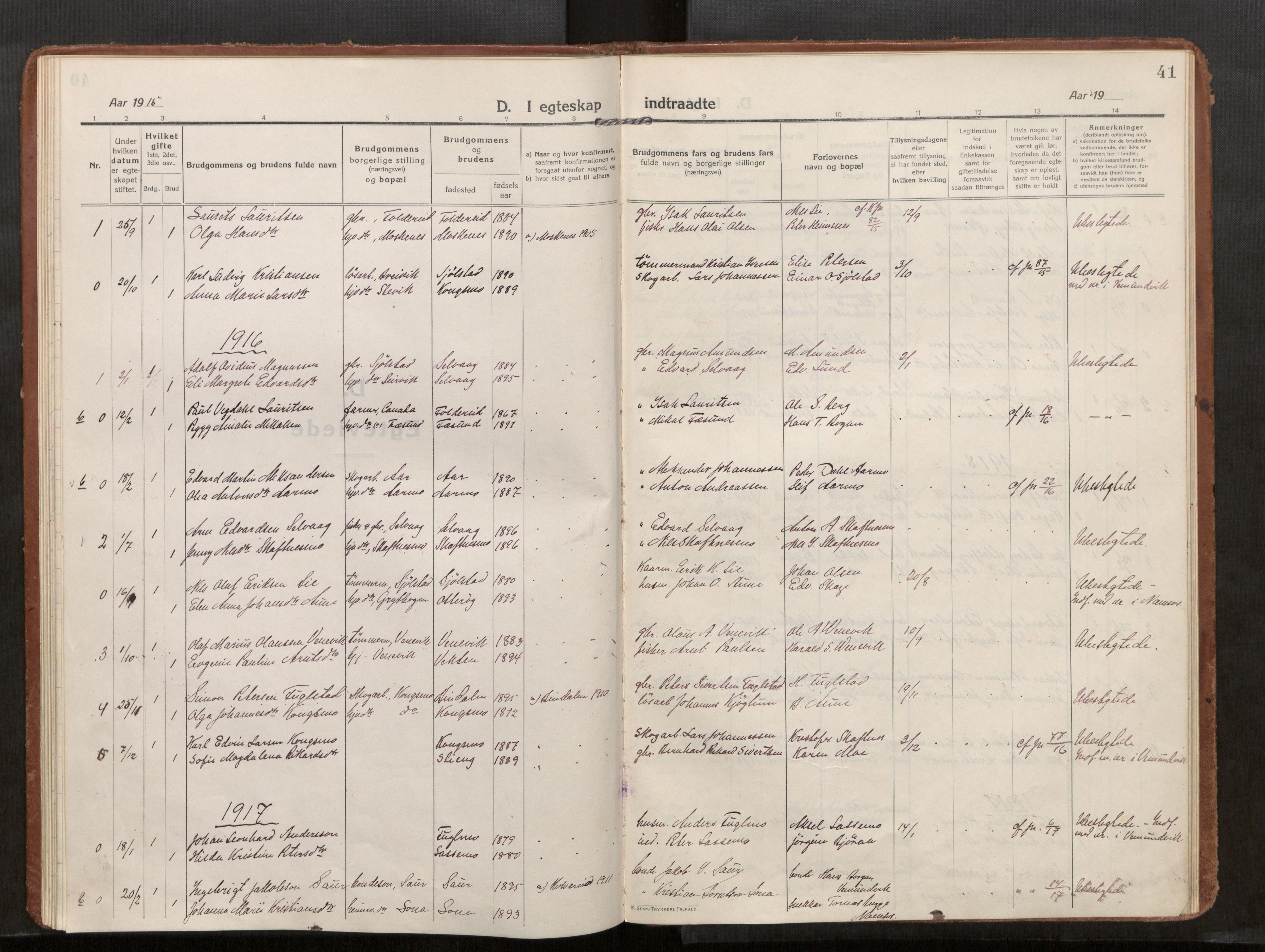 SAT, Kolvereid sokneprestkontor, H/Ha/Haa/L0002: Ministerialbok nr. 2, 1914-1926, s. 41