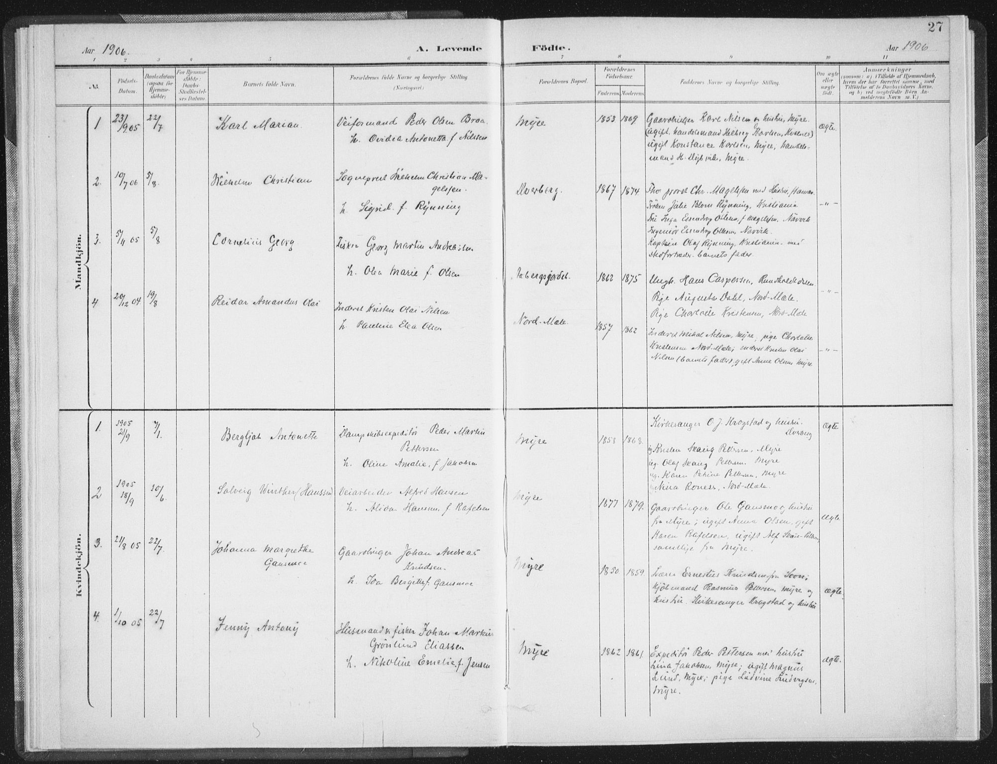 SAT, Ministerialprotokoller, klokkerbøker og fødselsregistre - Nordland, 897/L1400: Ministerialbok nr. 897A07, 1897-1908, s. 27