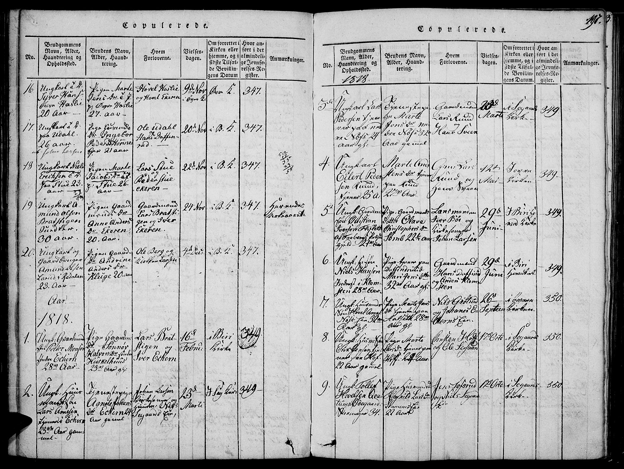 SAH, Biri prestekontor, Ministerialbok nr. 3, 1814-1828, s. 197