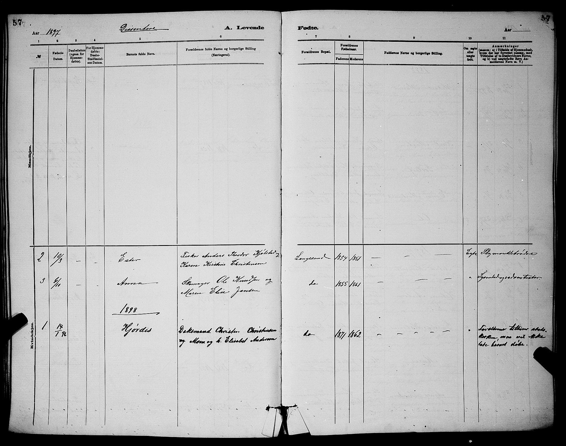 SAKO, Langesund kirkebøker, G/Ga/L0005: Klokkerbok nr. 5, 1884-1898, s. 57