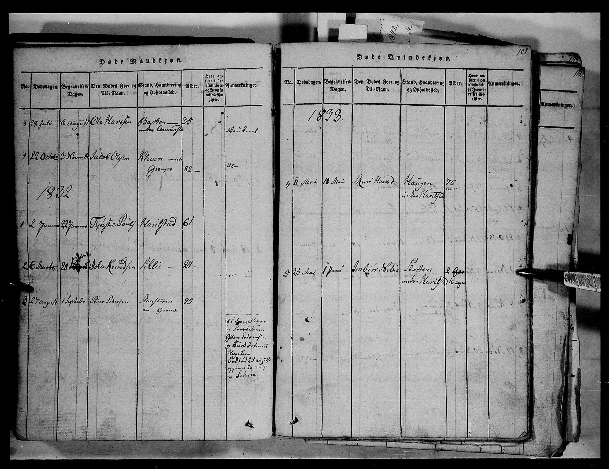 SAH, Fron prestekontor, H/Ha/Hab/L0003: Klokkerbok nr. 3, 1816-1850, s. 107