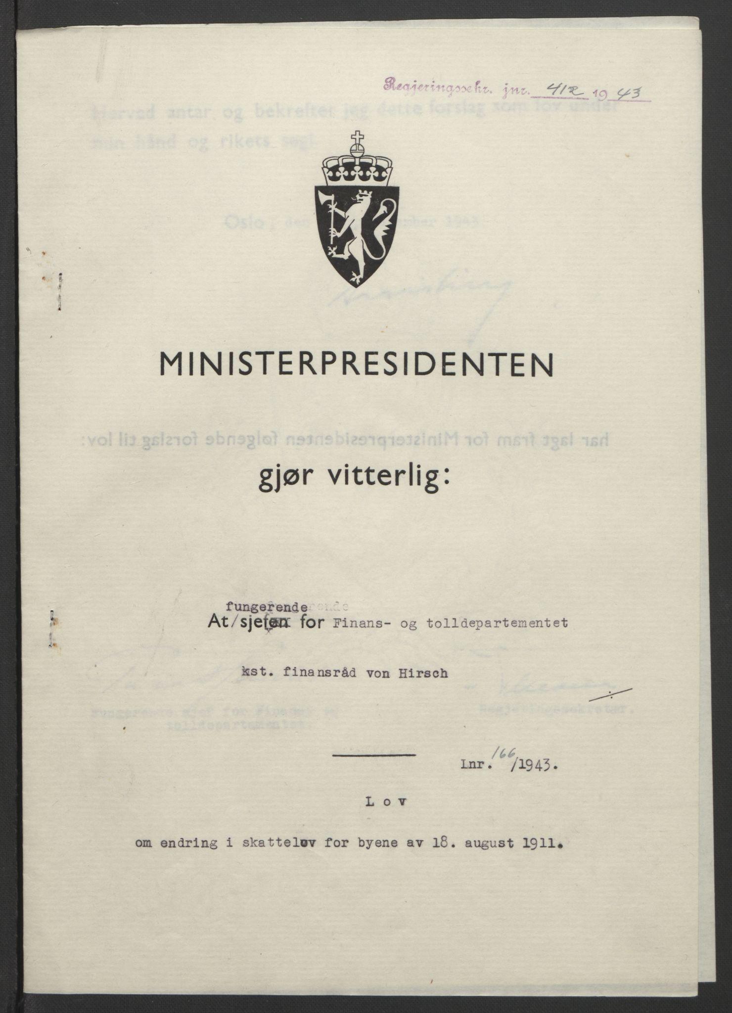 RA, NS-administrasjonen 1940-1945 (Statsrådsekretariatet, de kommisariske statsråder mm), D/Db/L0099: Lover, 1943, s. 783