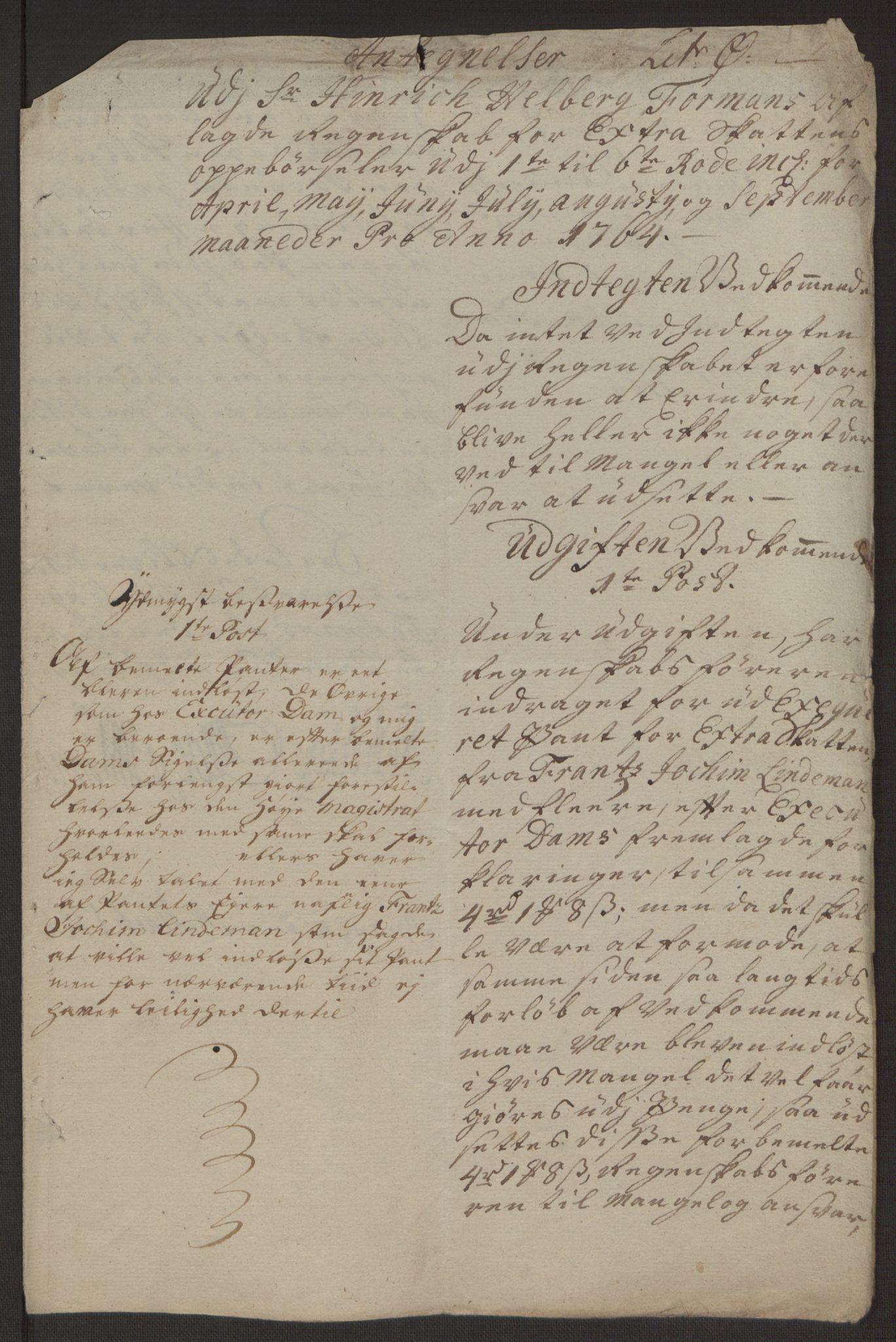 RA, Rentekammeret inntil 1814, Reviderte regnskaper, Byregnskaper, R/Rp/L0367: [P21] Kontribusjonsregnskap, 1764, s. 104