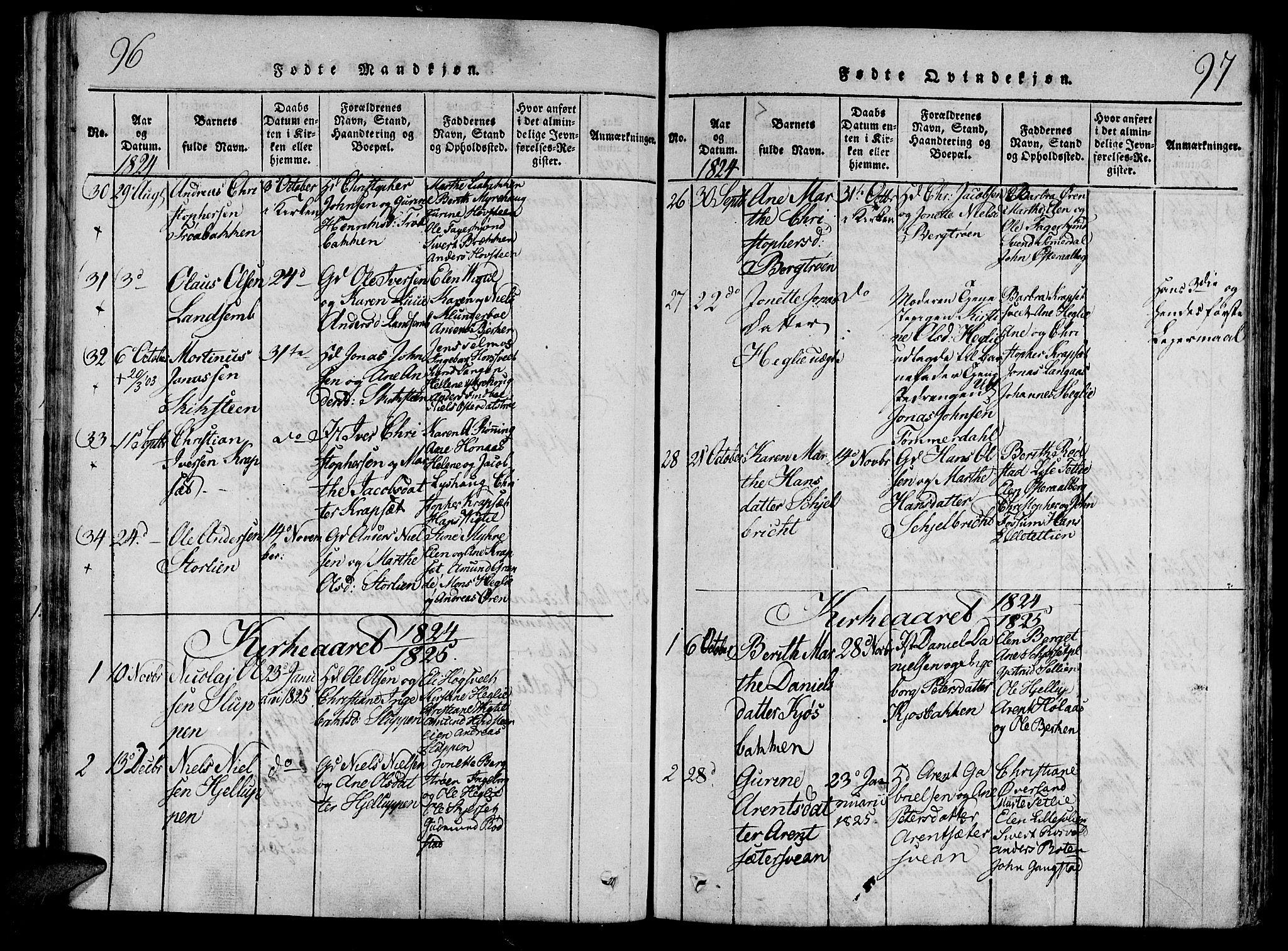 SAT, Ministerialprotokoller, klokkerbøker og fødselsregistre - Nord-Trøndelag, 701/L0005: Ministerialbok nr. 701A05 /1, 1816-1825, s. 96-97