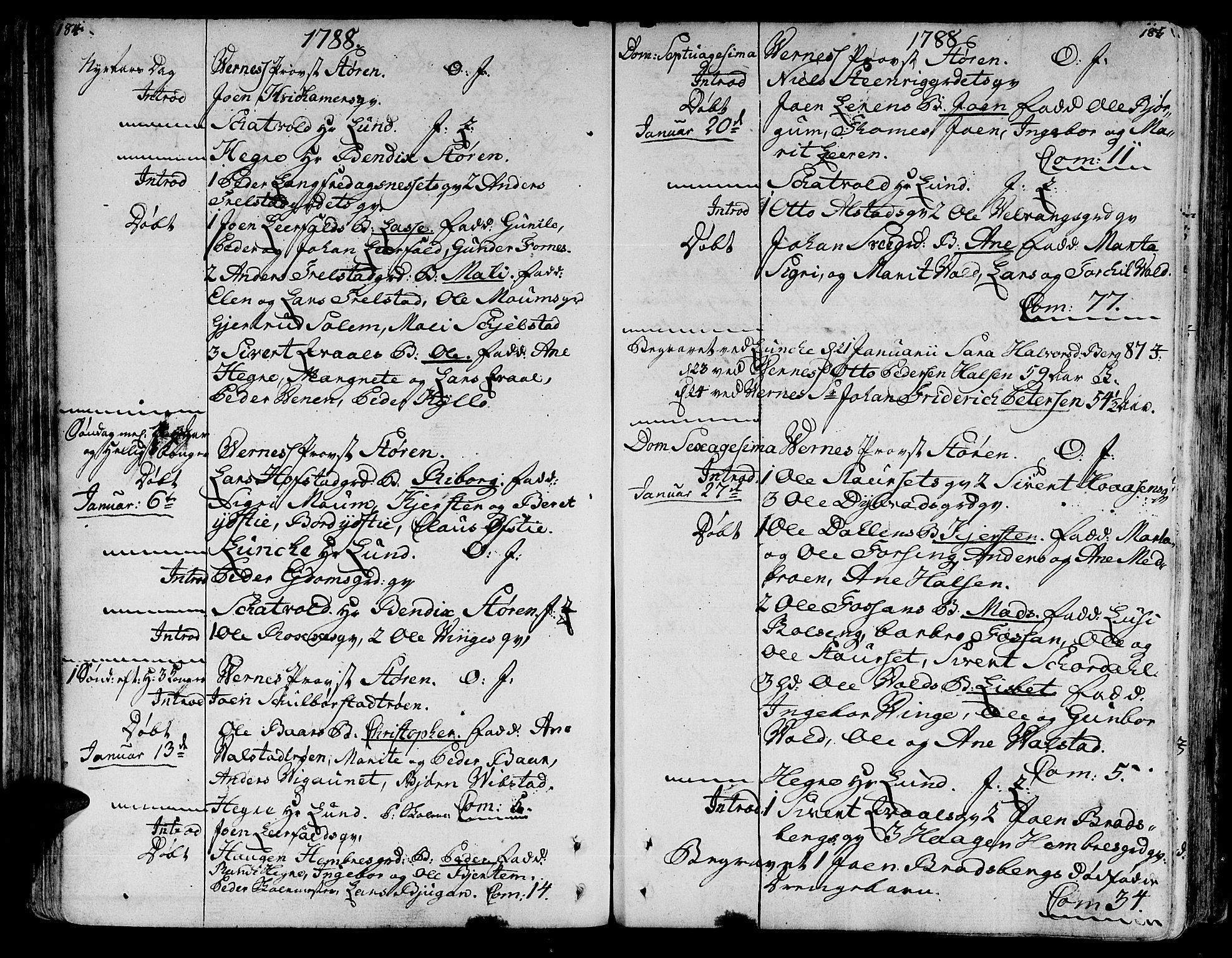 SAT, Ministerialprotokoller, klokkerbøker og fødselsregistre - Nord-Trøndelag, 709/L0059: Ministerialbok nr. 709A06, 1781-1797, s. 184-185