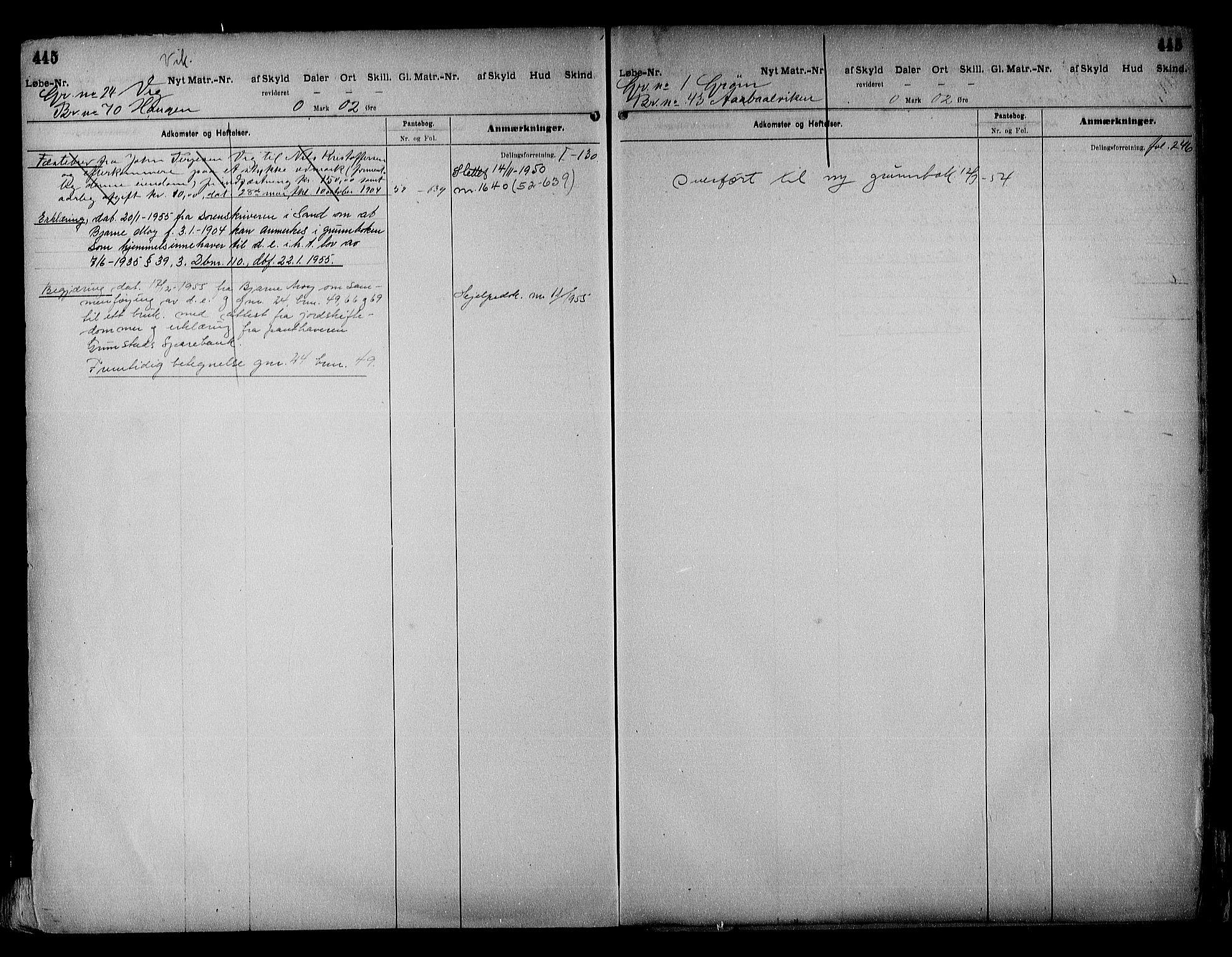 SAK, Vestre Nedenes/Sand sorenskriveri, G/Ga/L0018: Panteregister nr. 13b, 1872-1956, s. 445