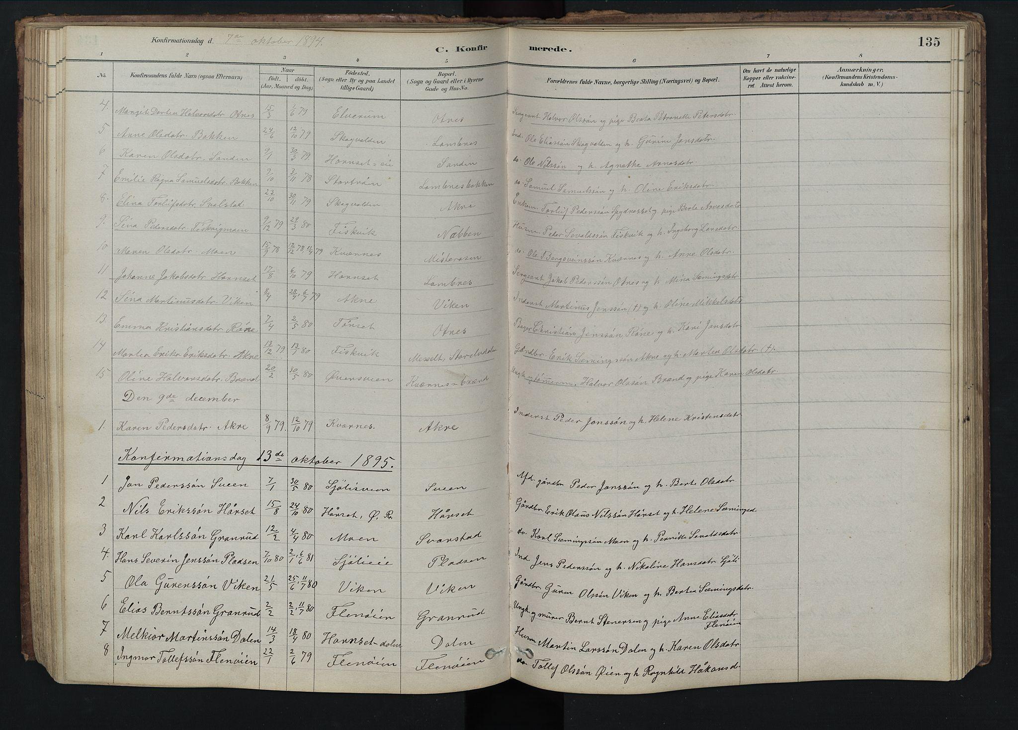 SAH, Rendalen prestekontor, H/Ha/Hab/L0009: Klokkerbok nr. 9, 1879-1902, s. 135
