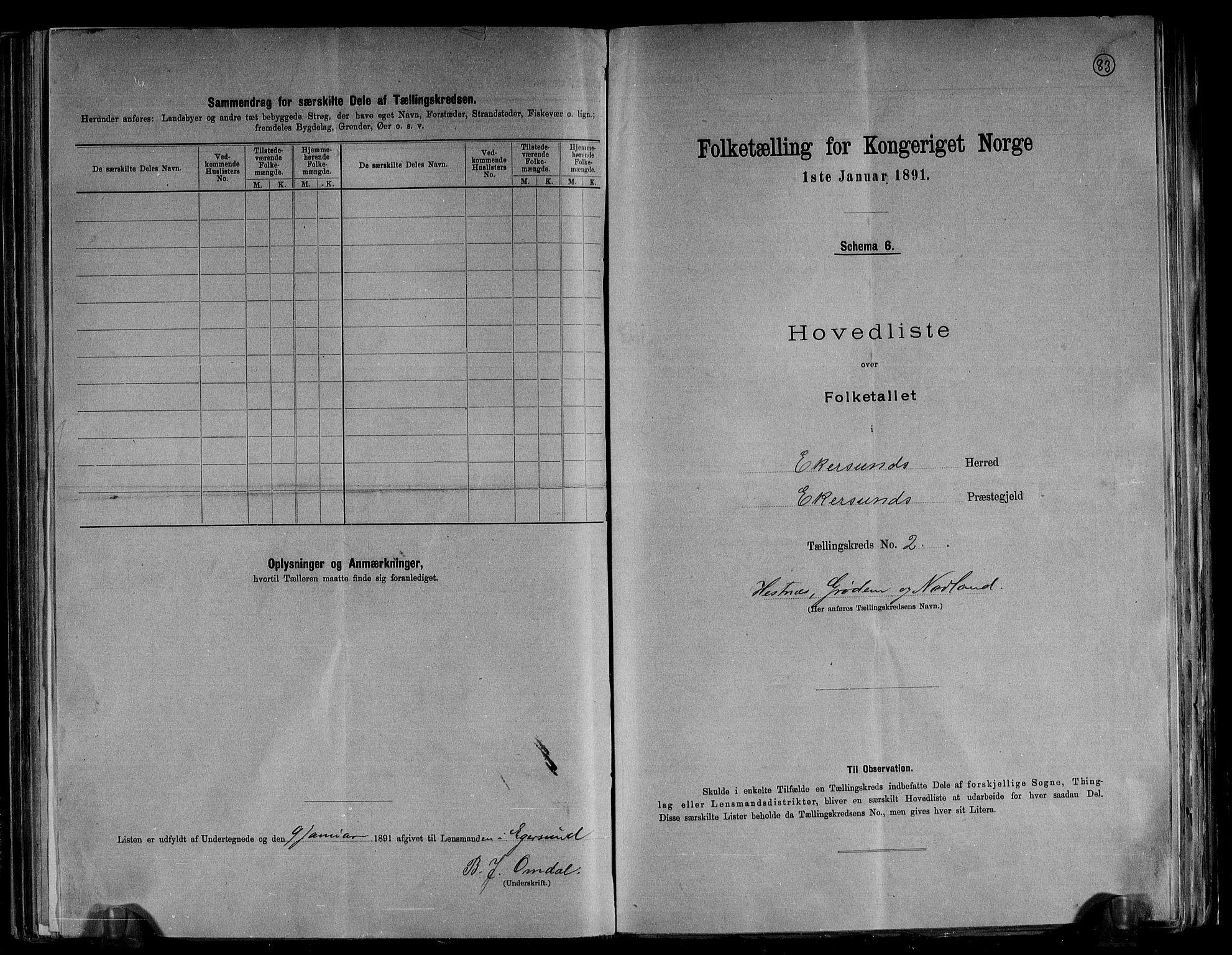 RA, Folketelling 1891 for 1116 Eigersund herred, 1891, s. 6