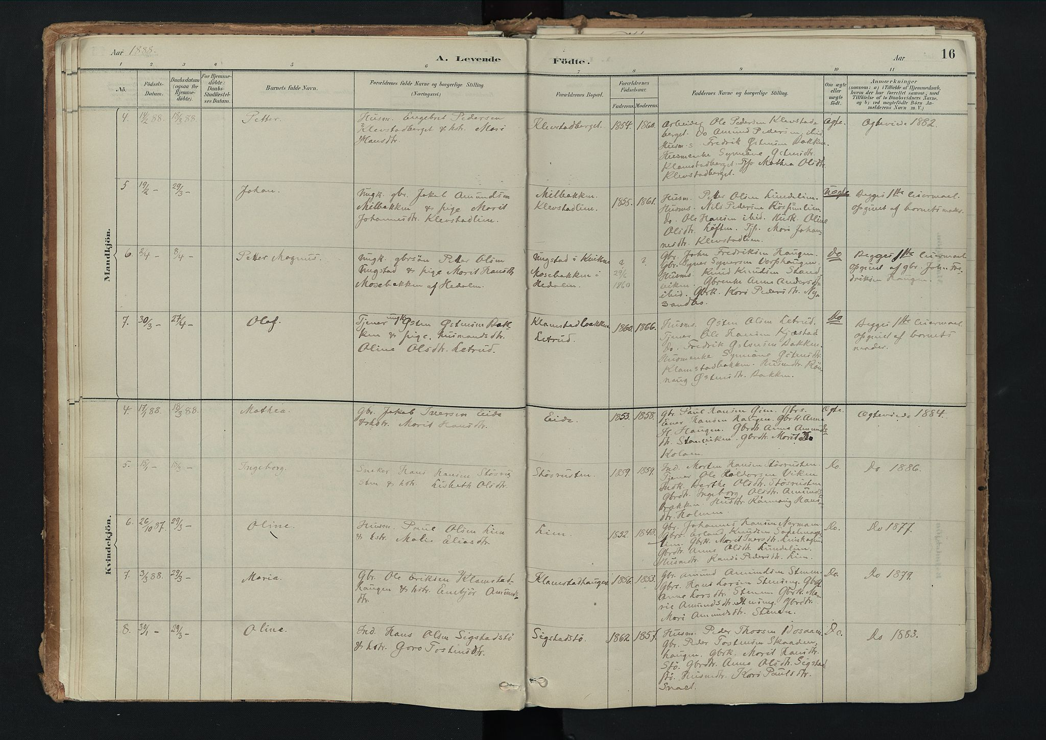 SAH, Nord-Fron prestekontor, Ministerialbok nr. 3, 1884-1914, s. 16