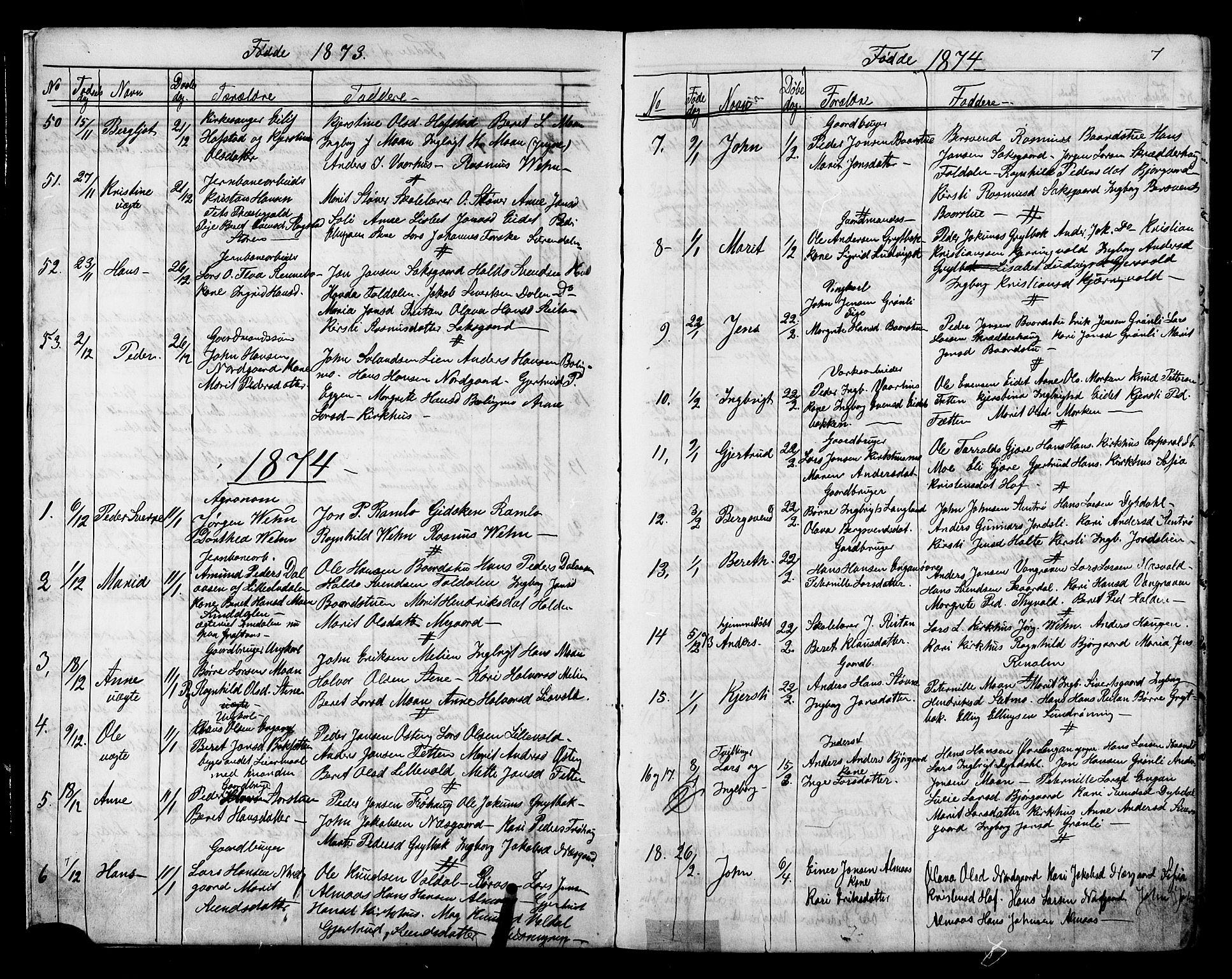 SAT, Ministerialprotokoller, klokkerbøker og fødselsregistre - Sør-Trøndelag, 686/L0985: Klokkerbok nr. 686C01, 1871-1933, s. 7