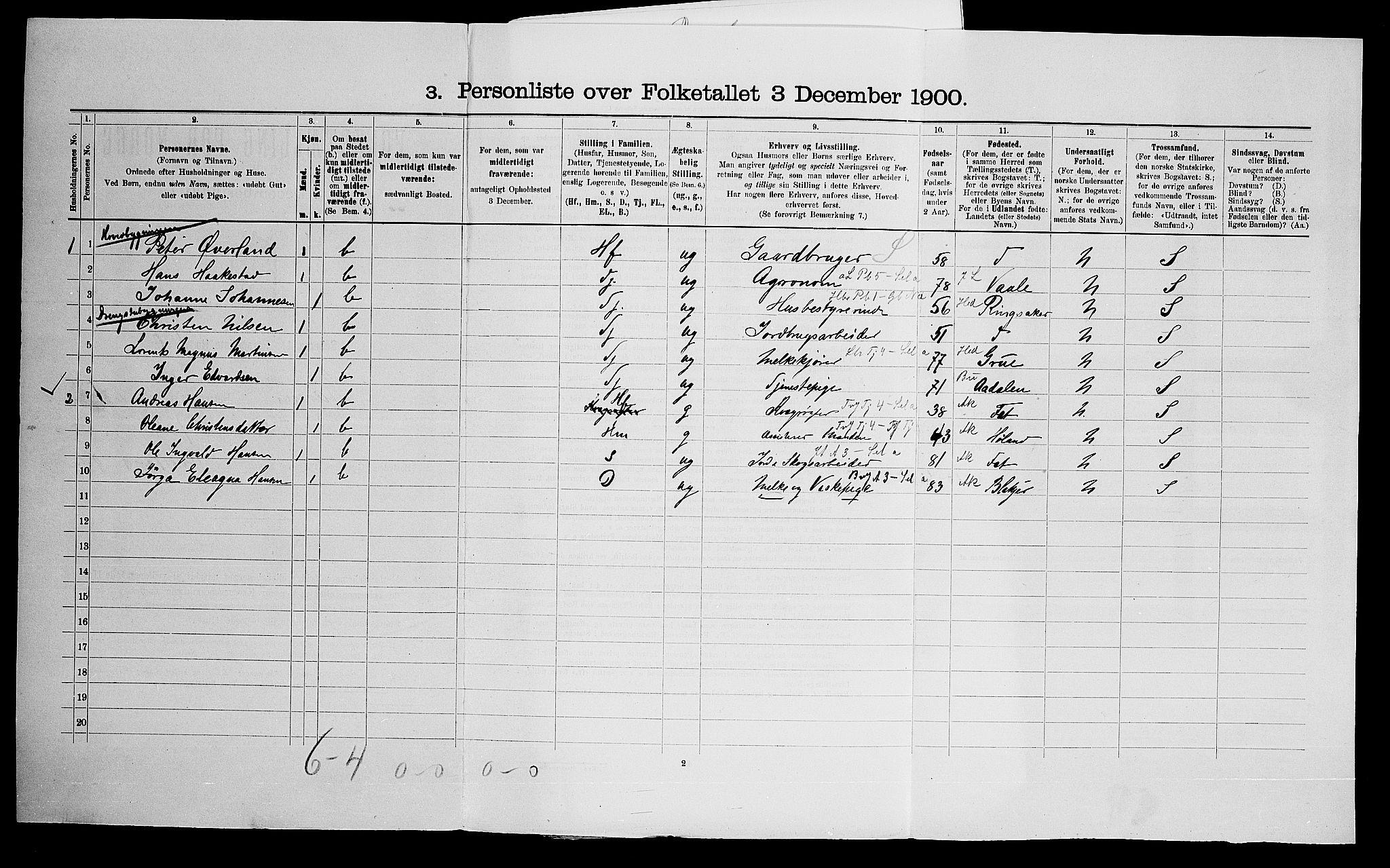 SAO, Folketelling 1900 for 0219 Bærum herred, 1900