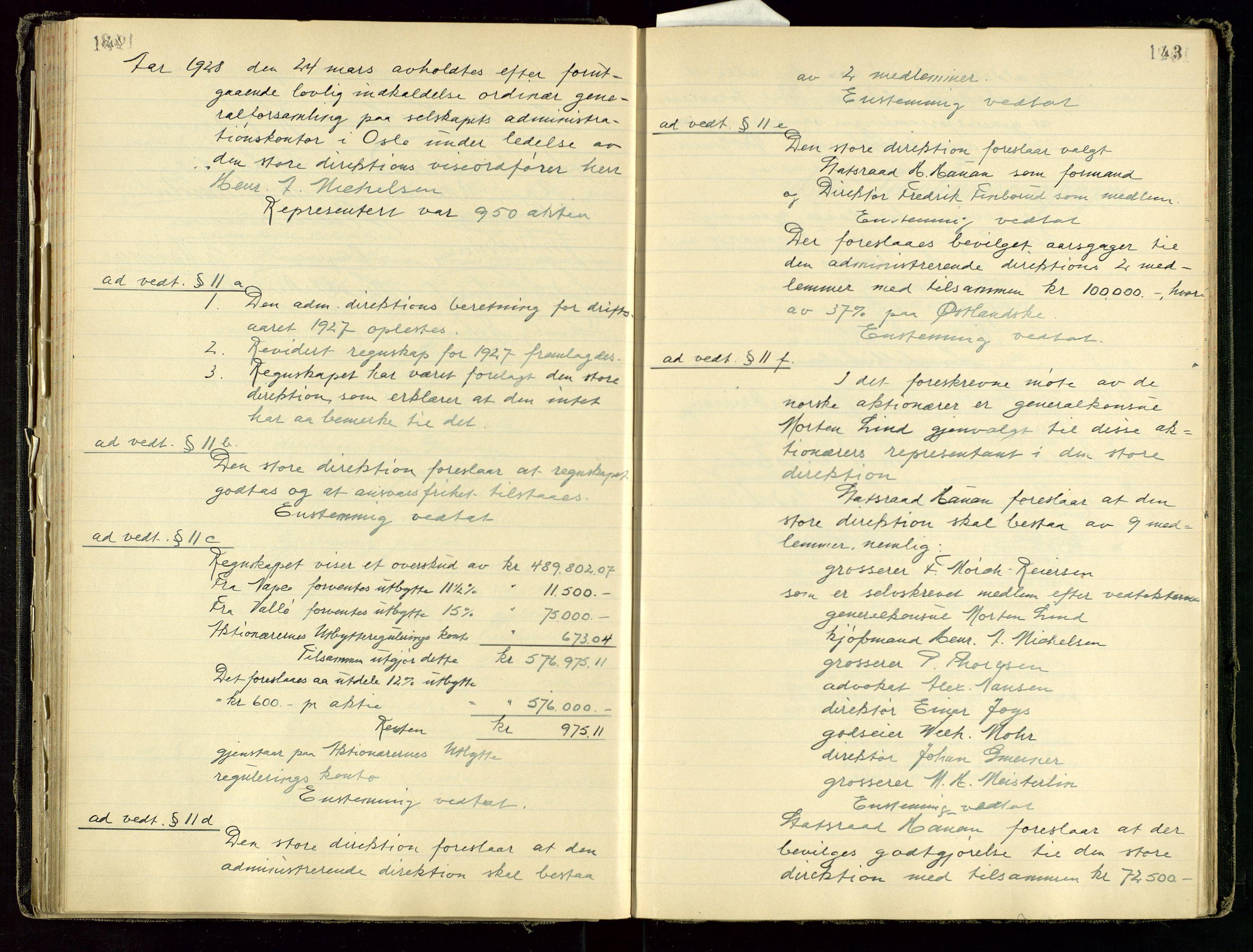 SAST, PA 1534 - Østlandske Petroleumscompagni A/S, A/Aa/L0001: Generalforsamlinger og direksjonsprotokoller., 1892-1960, s. 142-143