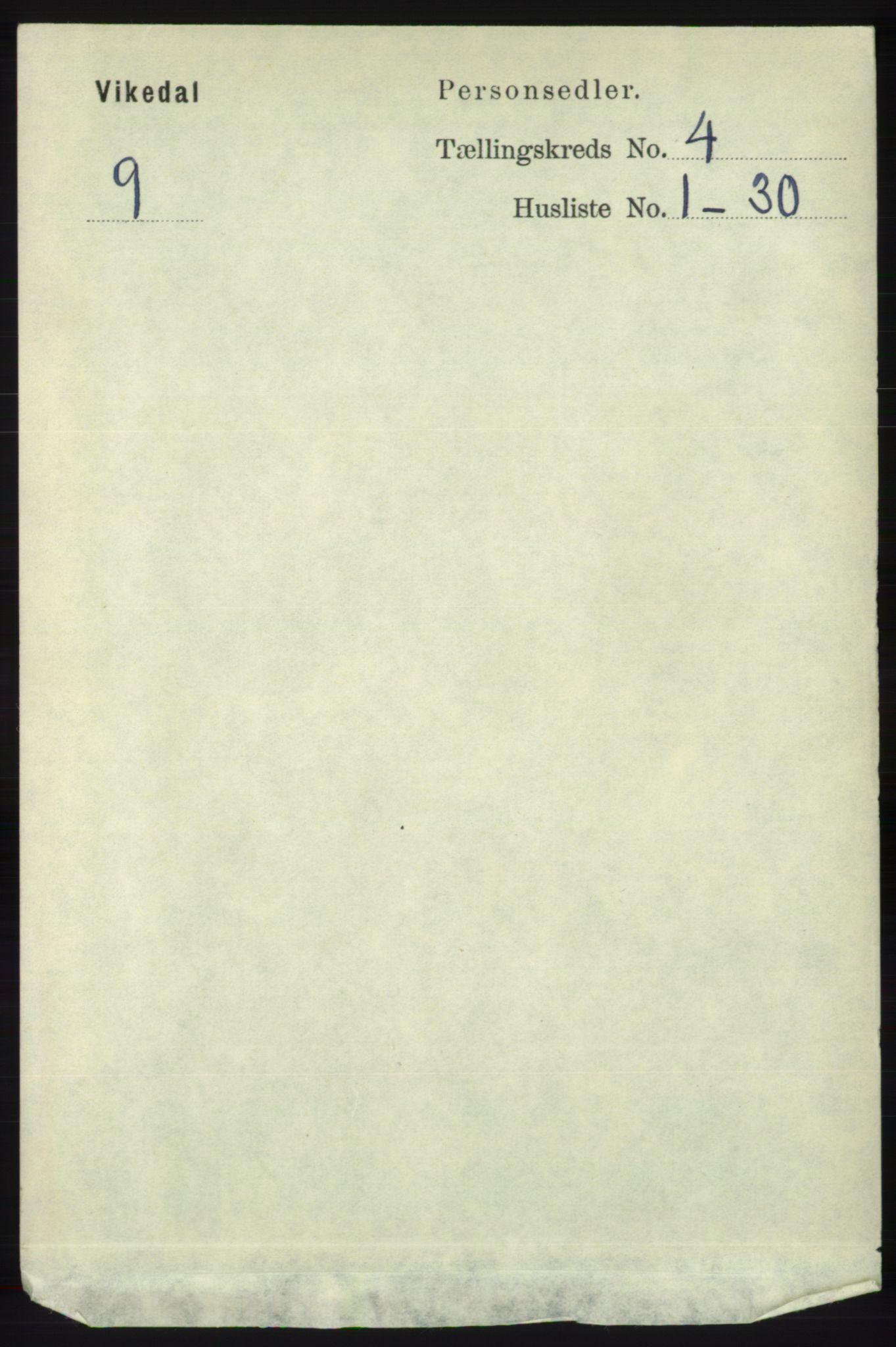 RA, Folketelling 1891 for 1157 Vikedal herred, 1891, s. 929