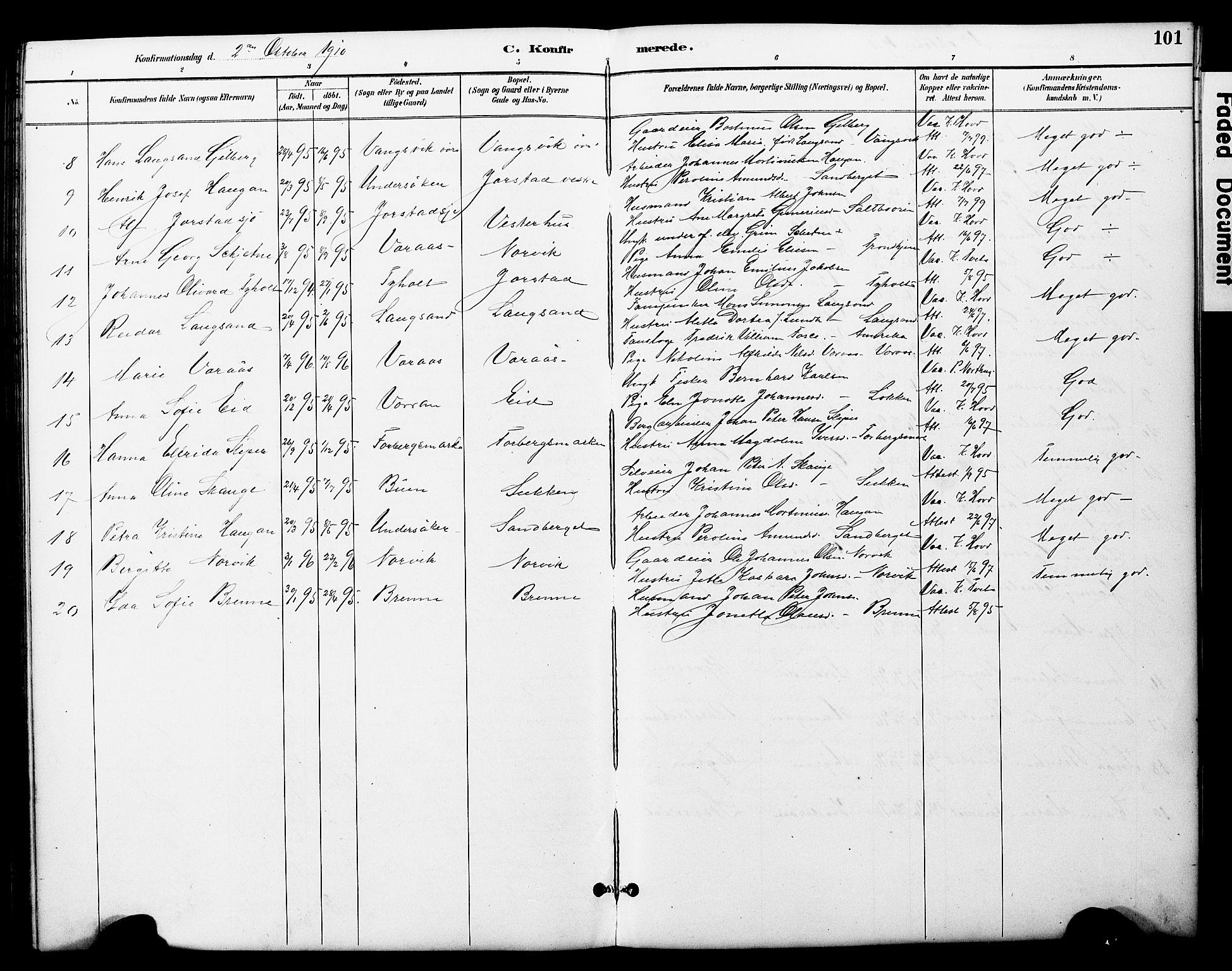 SAT, Ministerialprotokoller, klokkerbøker og fødselsregistre - Nord-Trøndelag, 722/L0226: Klokkerbok nr. 722C02, 1889-1927, s. 101