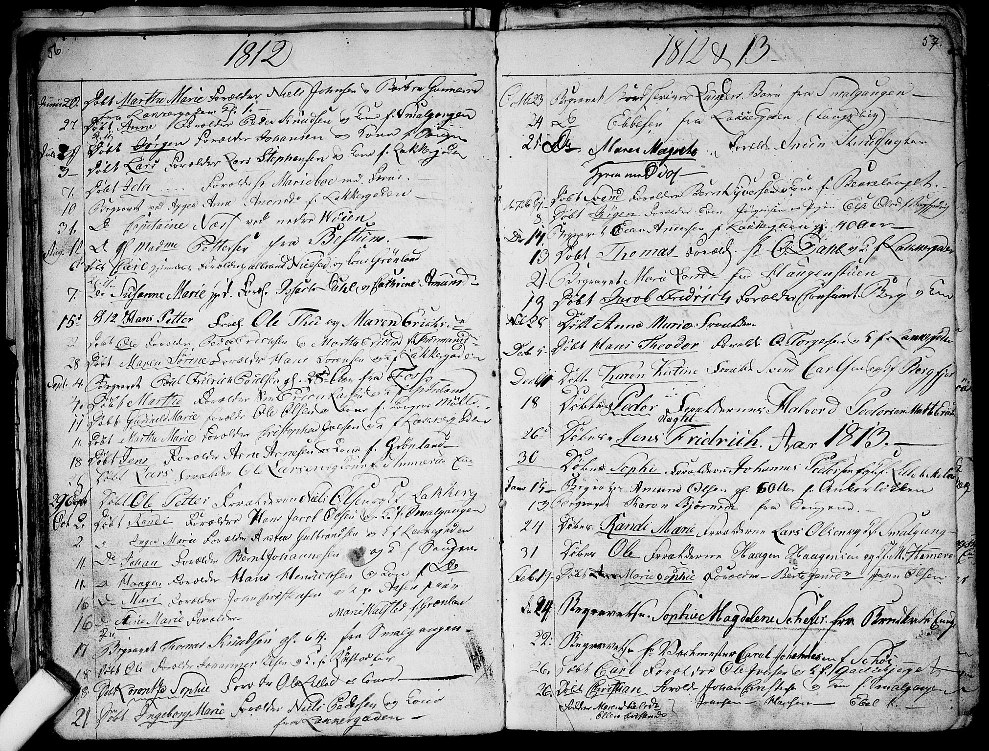 SAO, Aker prestekontor kirkebøker, G/L0001: Klokkerbok nr. 1, 1796-1826, s. 56-57