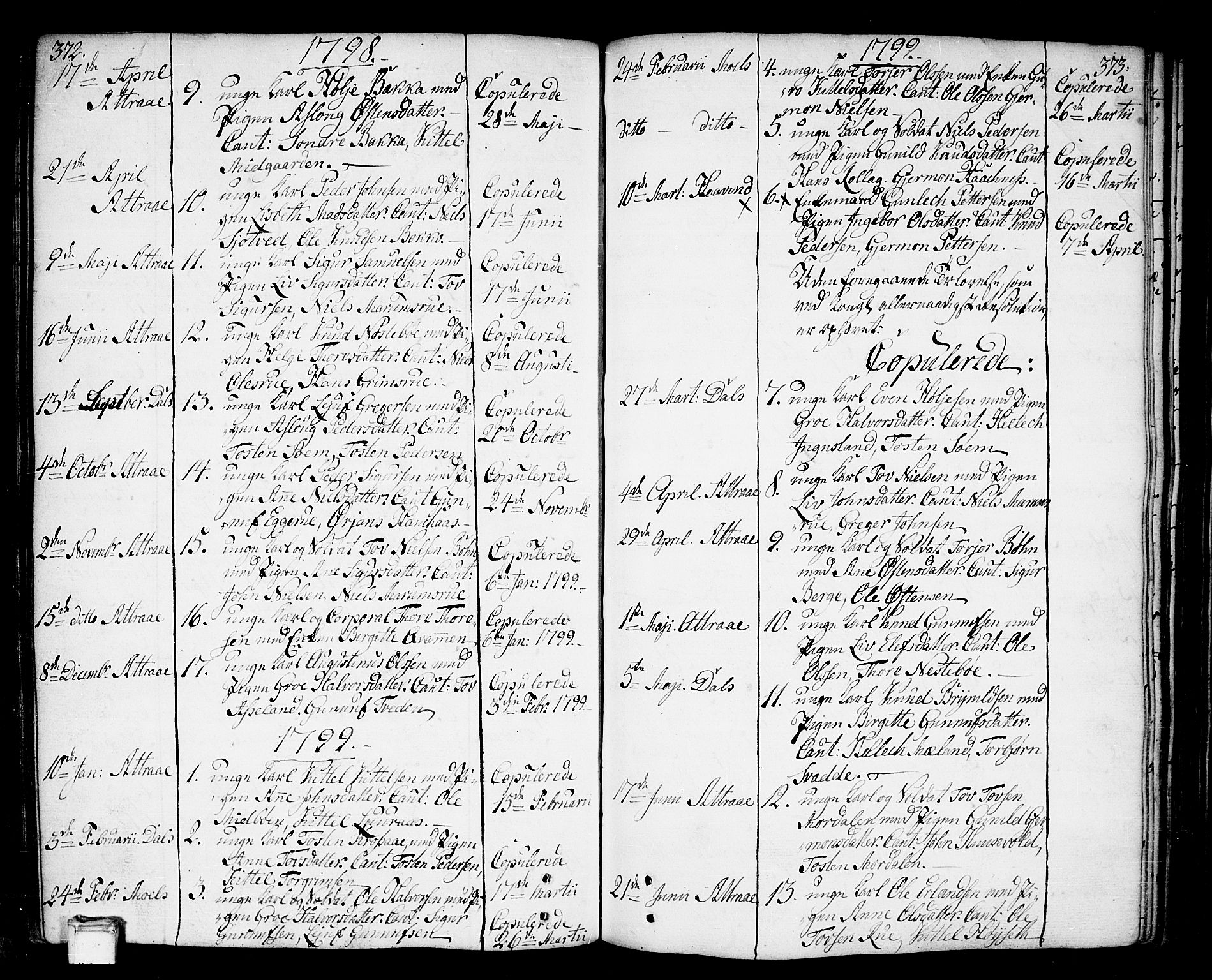SAKO, Tinn kirkebøker, F/Fa/L0002: Ministerialbok nr. I 2, 1757-1810, s. 372-373