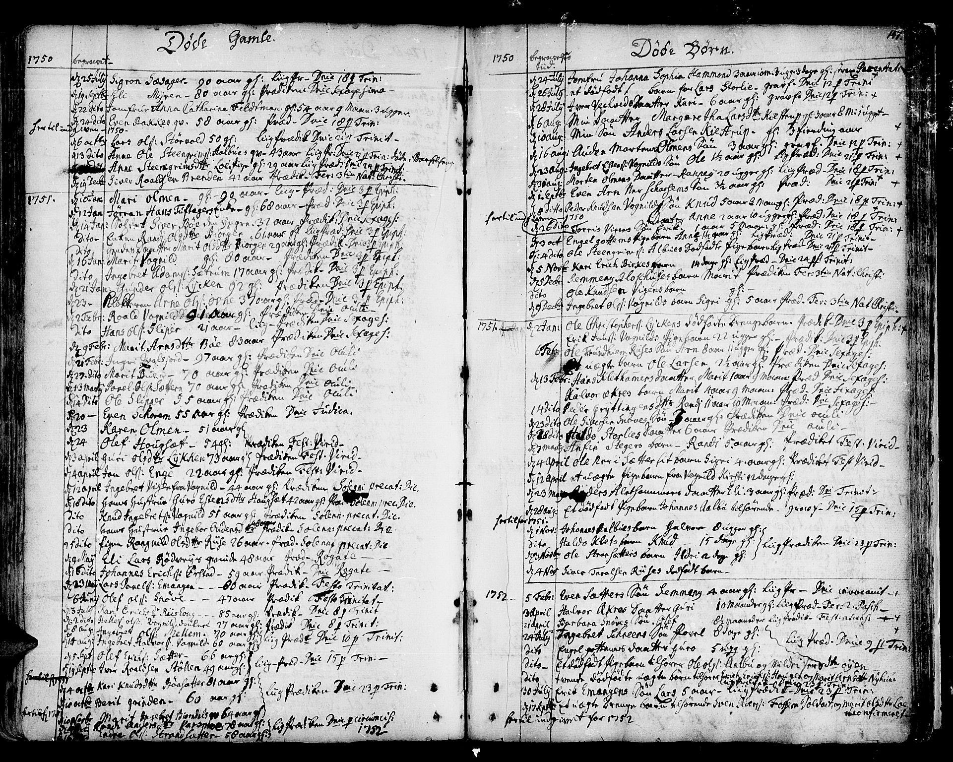 SAT, Ministerialprotokoller, klokkerbøker og fødselsregistre - Sør-Trøndelag, 678/L0891: Ministerialbok nr. 678A01, 1739-1780, s. 147