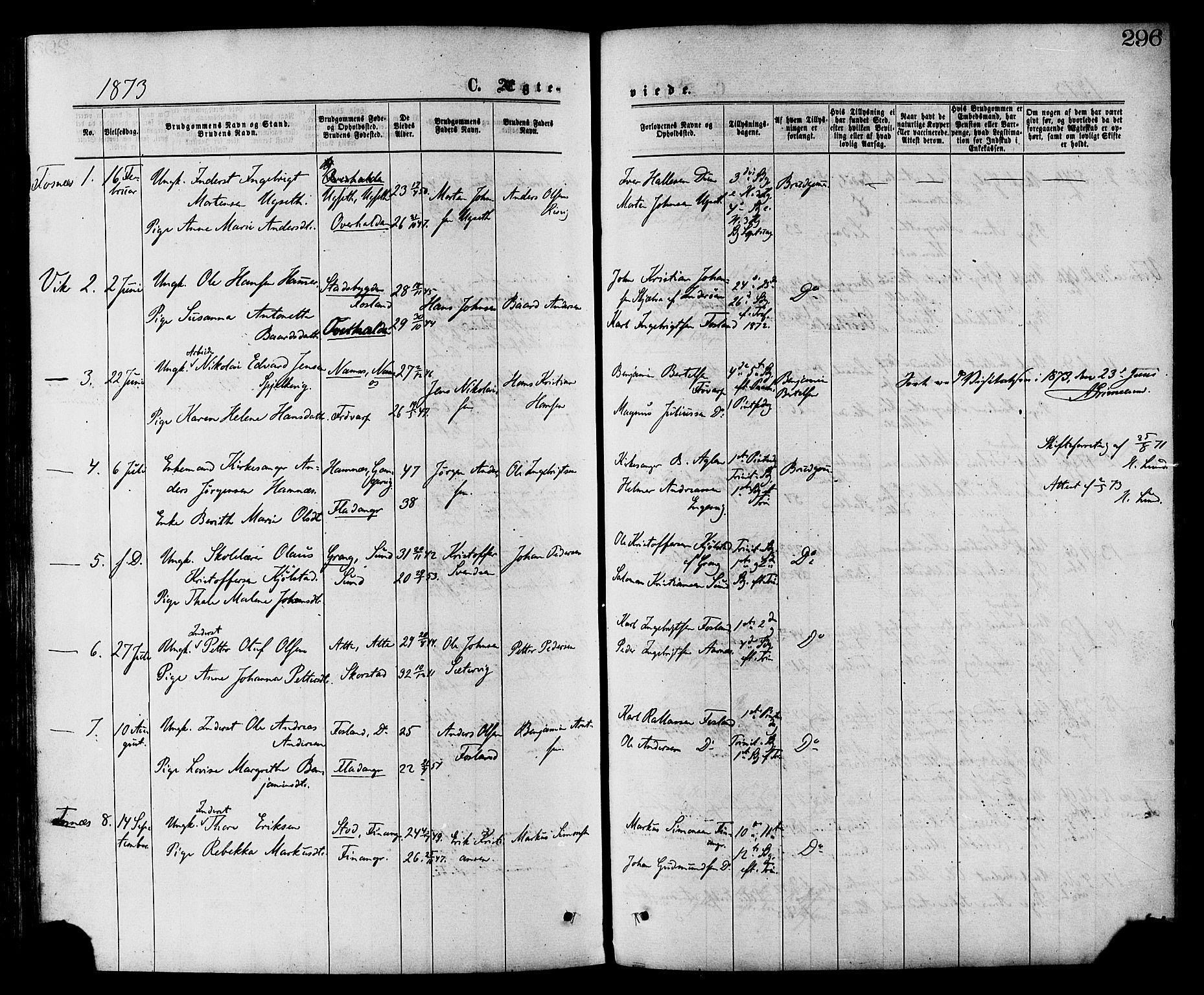 SAT, Ministerialprotokoller, klokkerbøker og fødselsregistre - Nord-Trøndelag, 773/L0616: Ministerialbok nr. 773A07, 1870-1887, s. 296