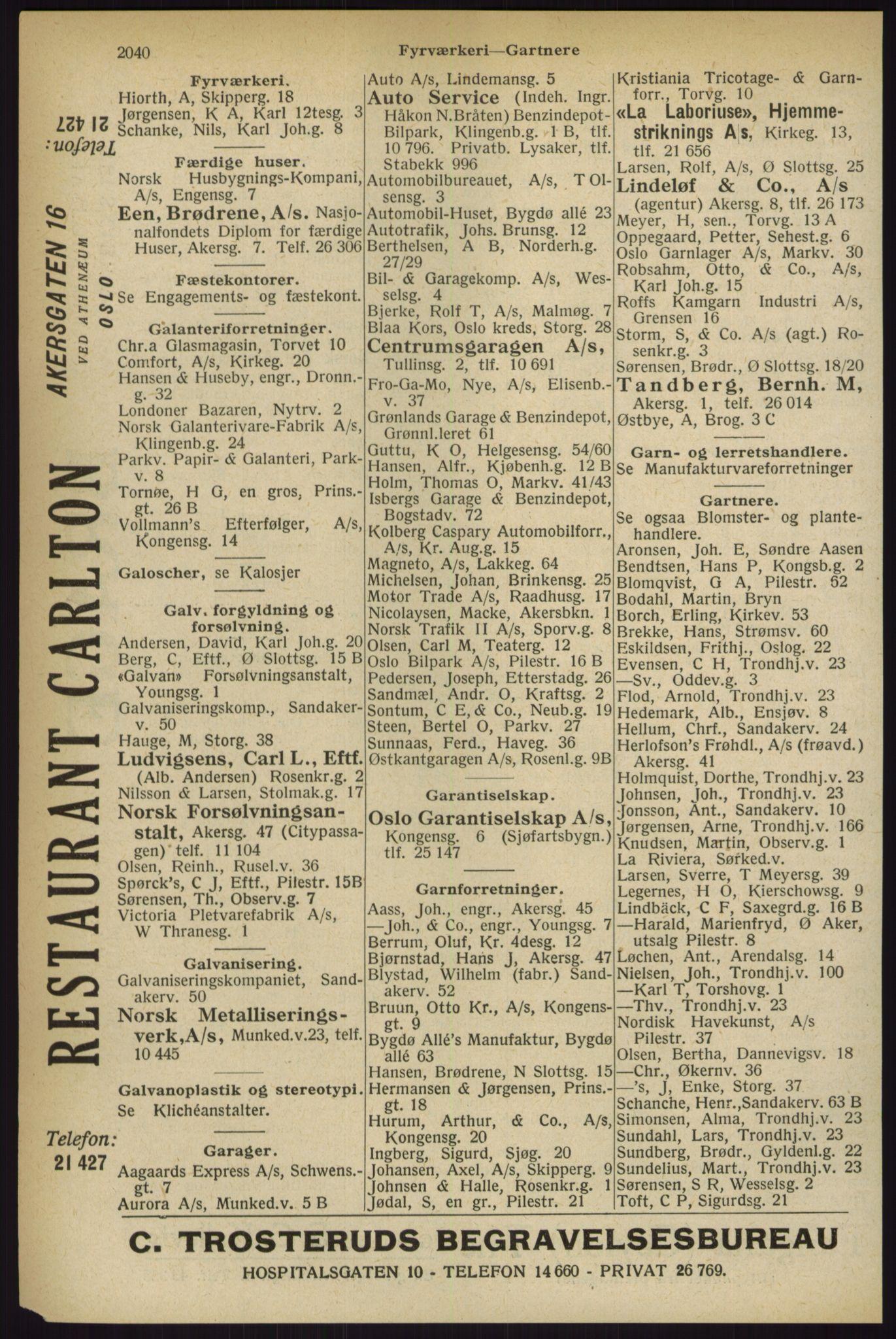 RA, Oslo adressebok (publikasjon)*, 1927, s. 2040