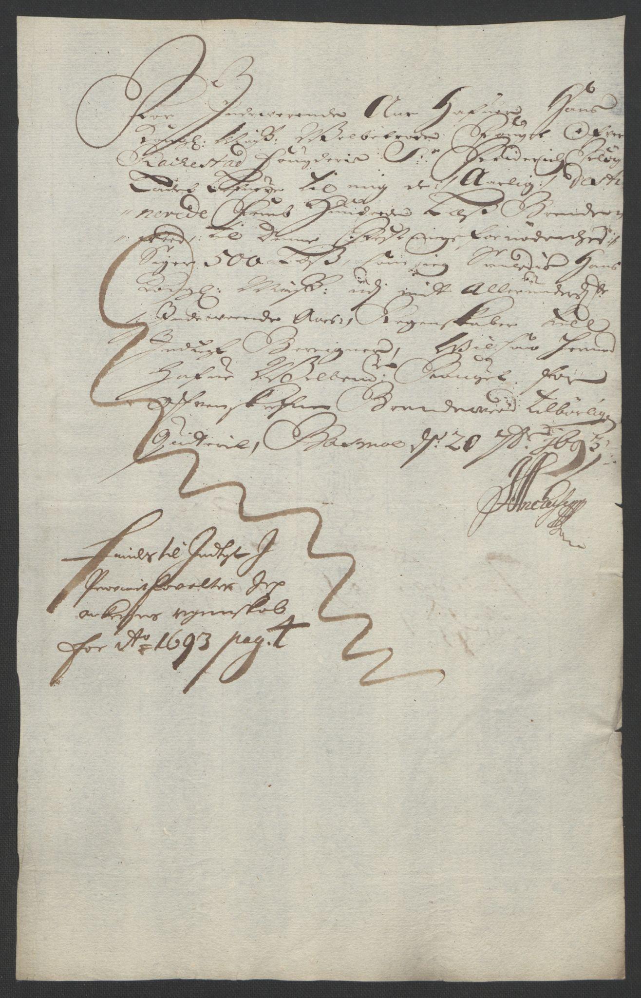 RA, Rentekammeret inntil 1814, Reviderte regnskaper, Fogderegnskap, R05/L0278: Fogderegnskap Rakkestad, 1691-1693, s. 526