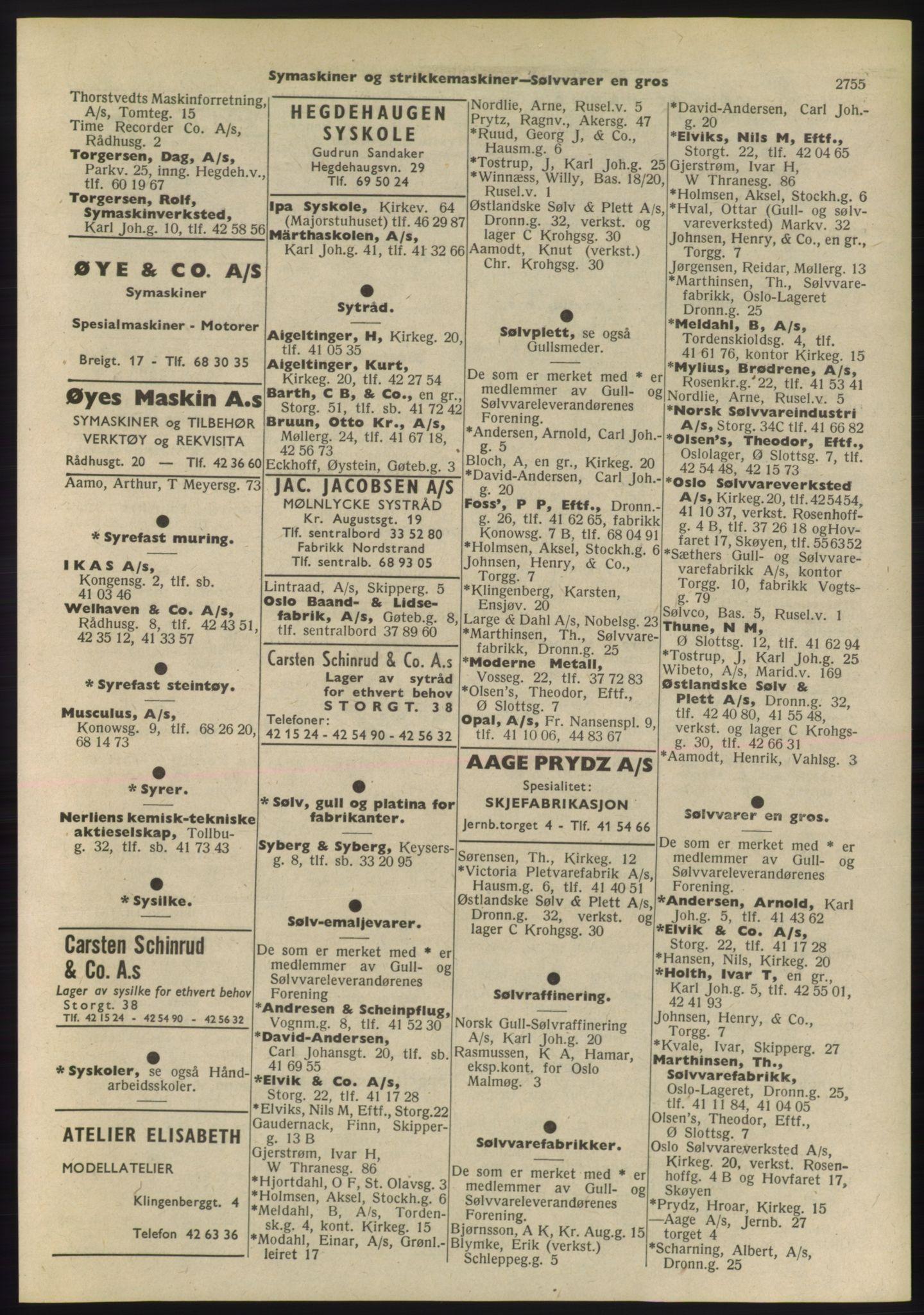 PUBL, Kristiania/Oslo adressebok, 1955, s. 2755