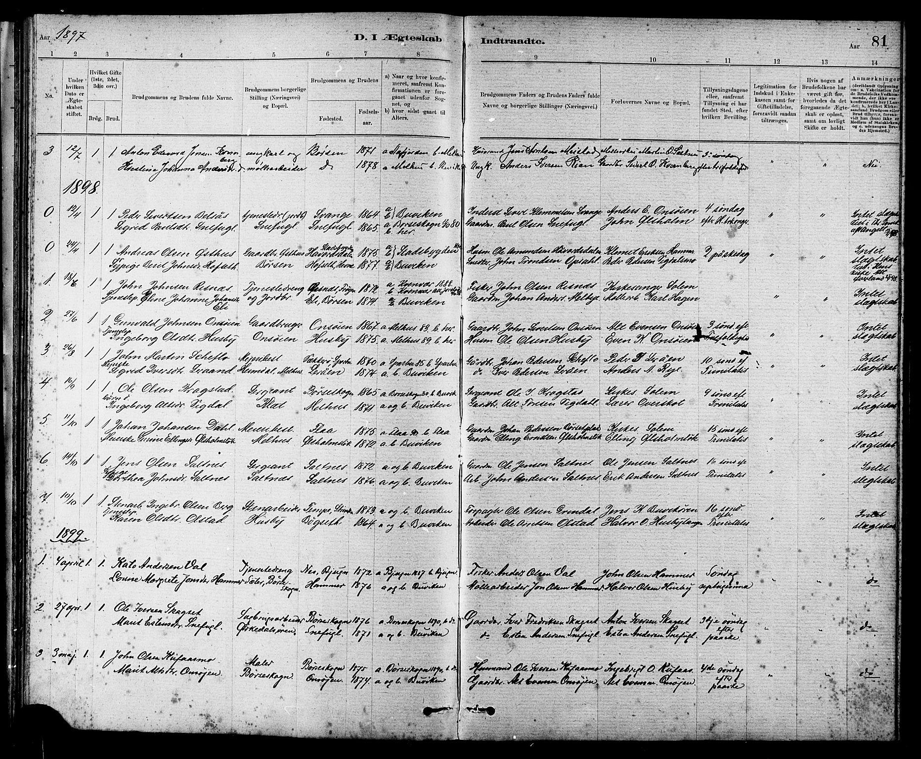 SAT, Ministerialprotokoller, klokkerbøker og fødselsregistre - Sør-Trøndelag, 666/L0790: Klokkerbok nr. 666C03, 1885-1908, s. 81