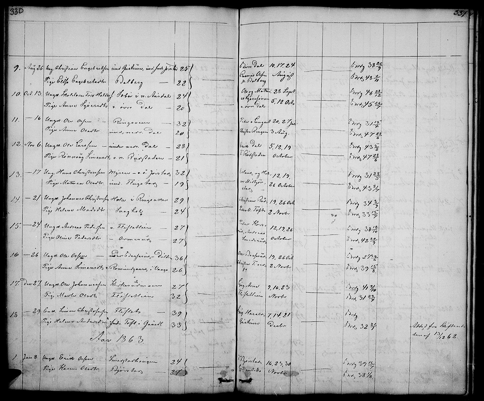 SAH, Fåberg prestekontor, Klokkerbok nr. 5, 1837-1864, s. 328-329