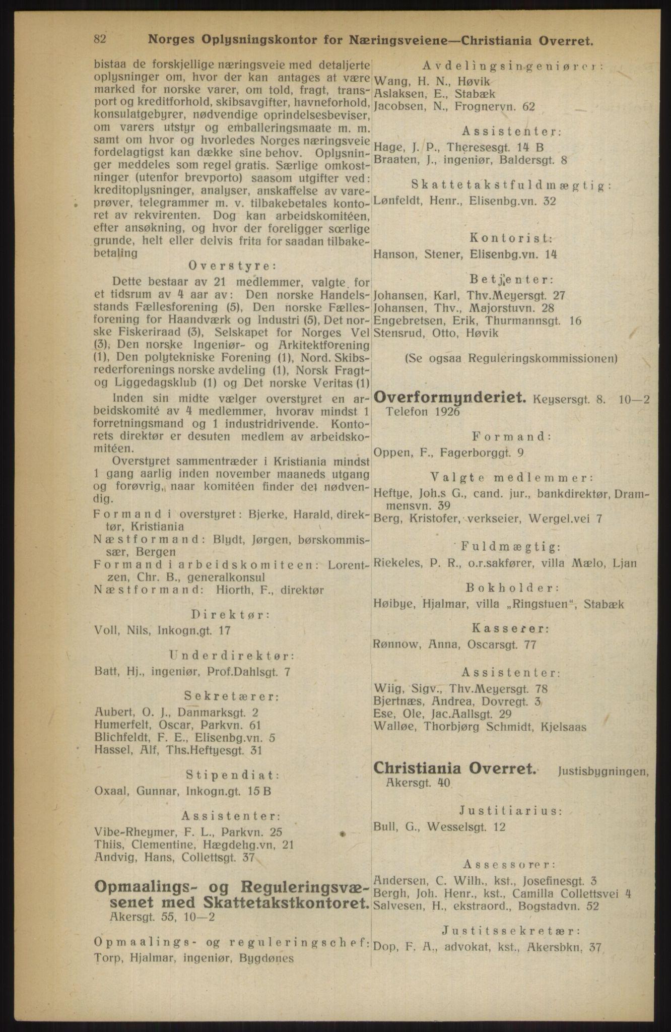 RA, Kristiania adressebok (publikasjon)*, 1914, s. 82