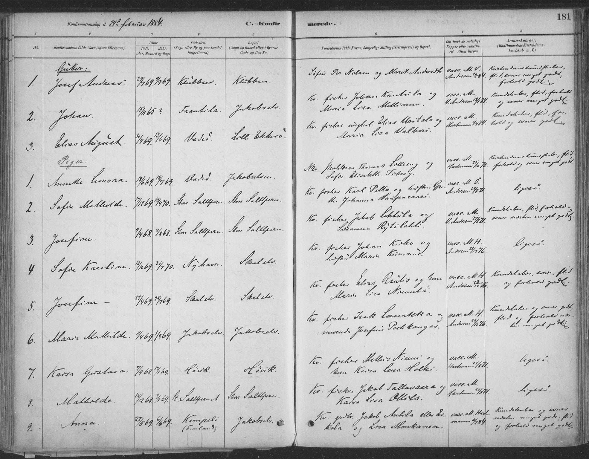 SATØ, Vadsø sokneprestkontor, H/Ha/L0009kirke: Ministerialbok nr. 9, 1881-1917, s. 181