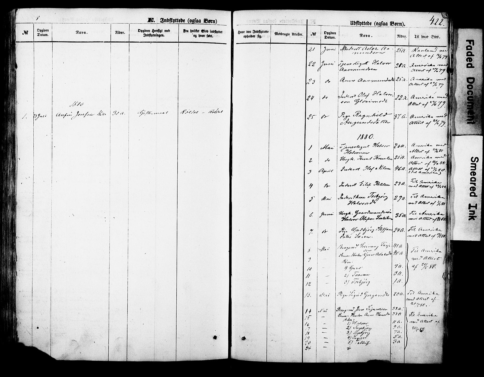 SAKO, Vinje kirkebøker, F/Fa/L0005: Ministerialbok nr. I 5, 1870-1886, s. 422