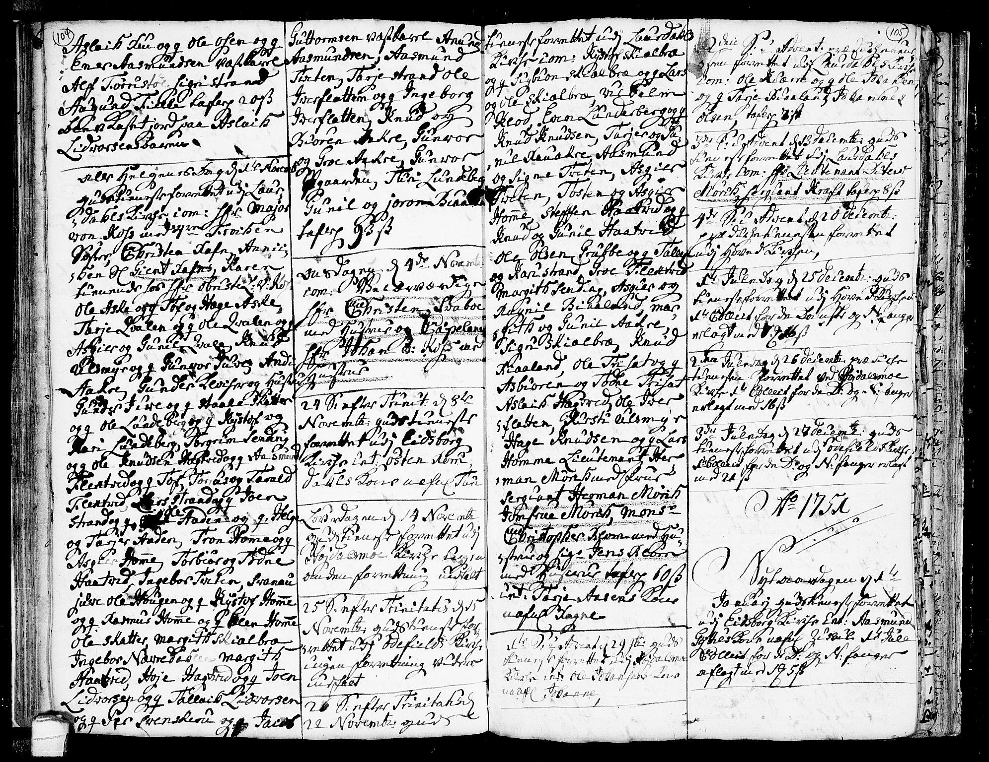 SAKO, Lårdal kirkebøker, F/Fa/L0002: Ministerialbok nr. I 2, 1734-1754, s. 104-105