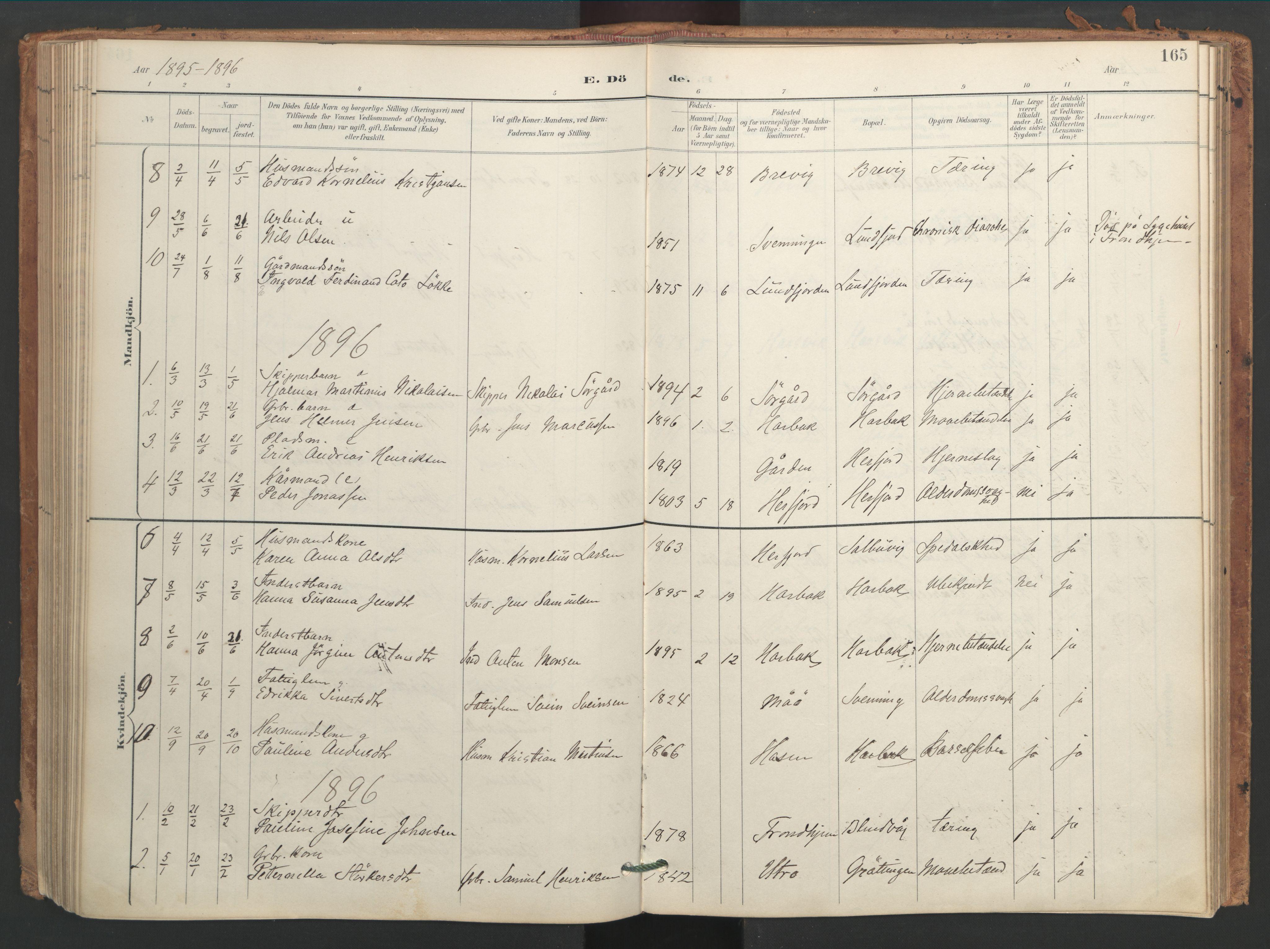 SAT, Ministerialprotokoller, klokkerbøker og fødselsregistre - Sør-Trøndelag, 656/L0693: Ministerialbok nr. 656A02, 1894-1913, s. 165