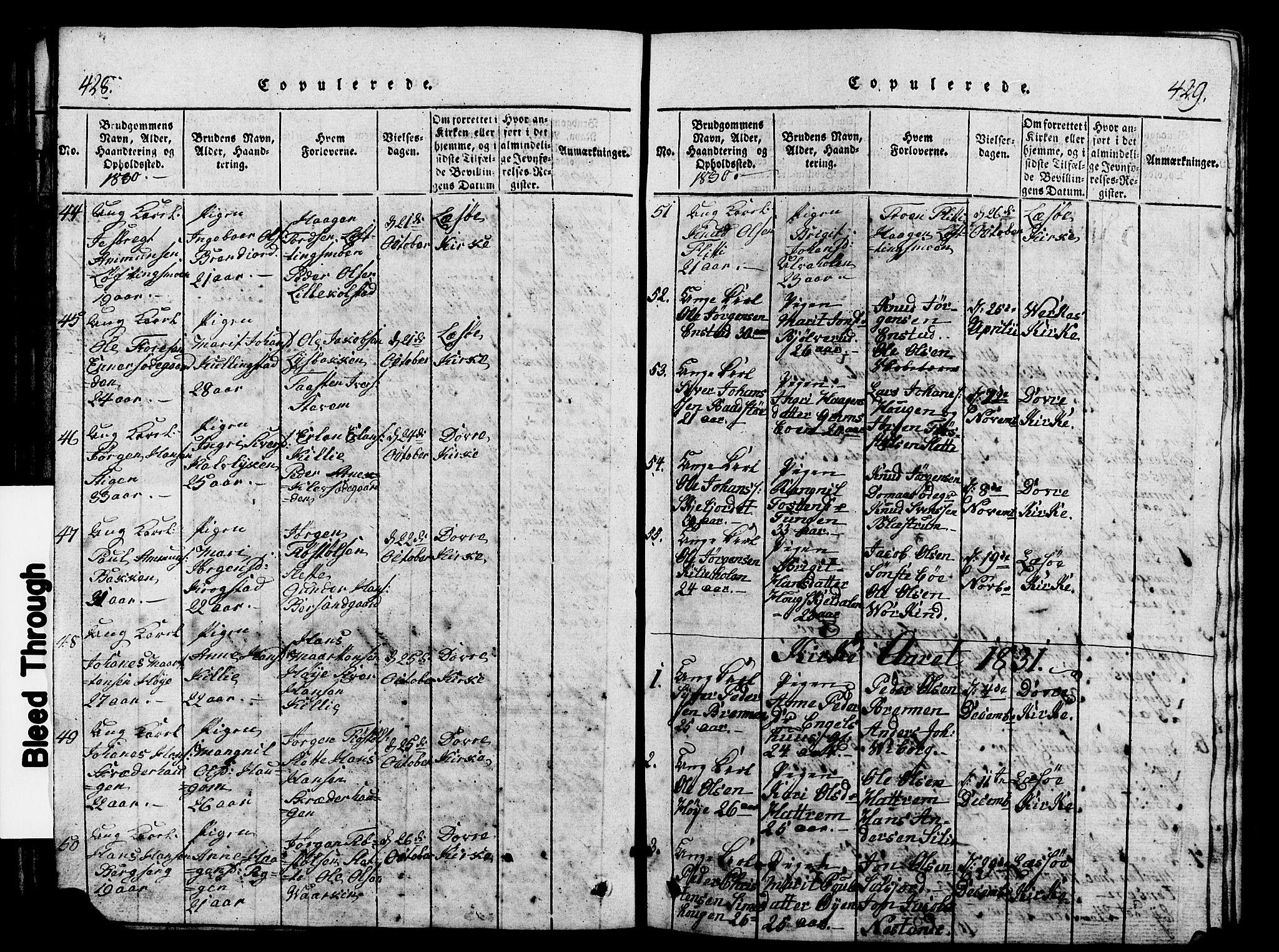 SAH, Lesja prestekontor, Klokkerbok nr. 1, 1820-1831, s. 428-429