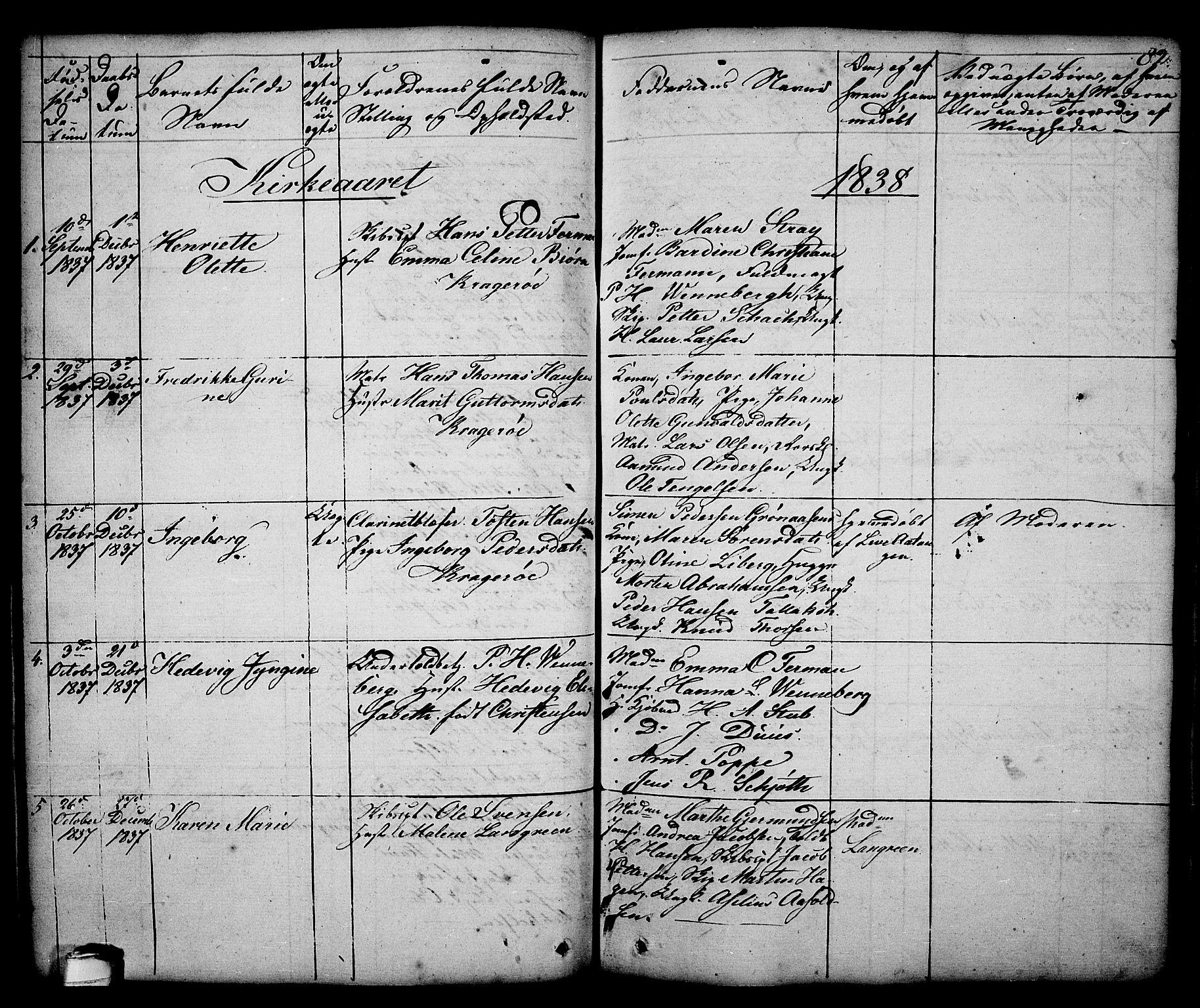 SAKO, Kragerø kirkebøker, G/Ga/L0003: Klokkerbok nr. 3, 1832-1852, s. 82