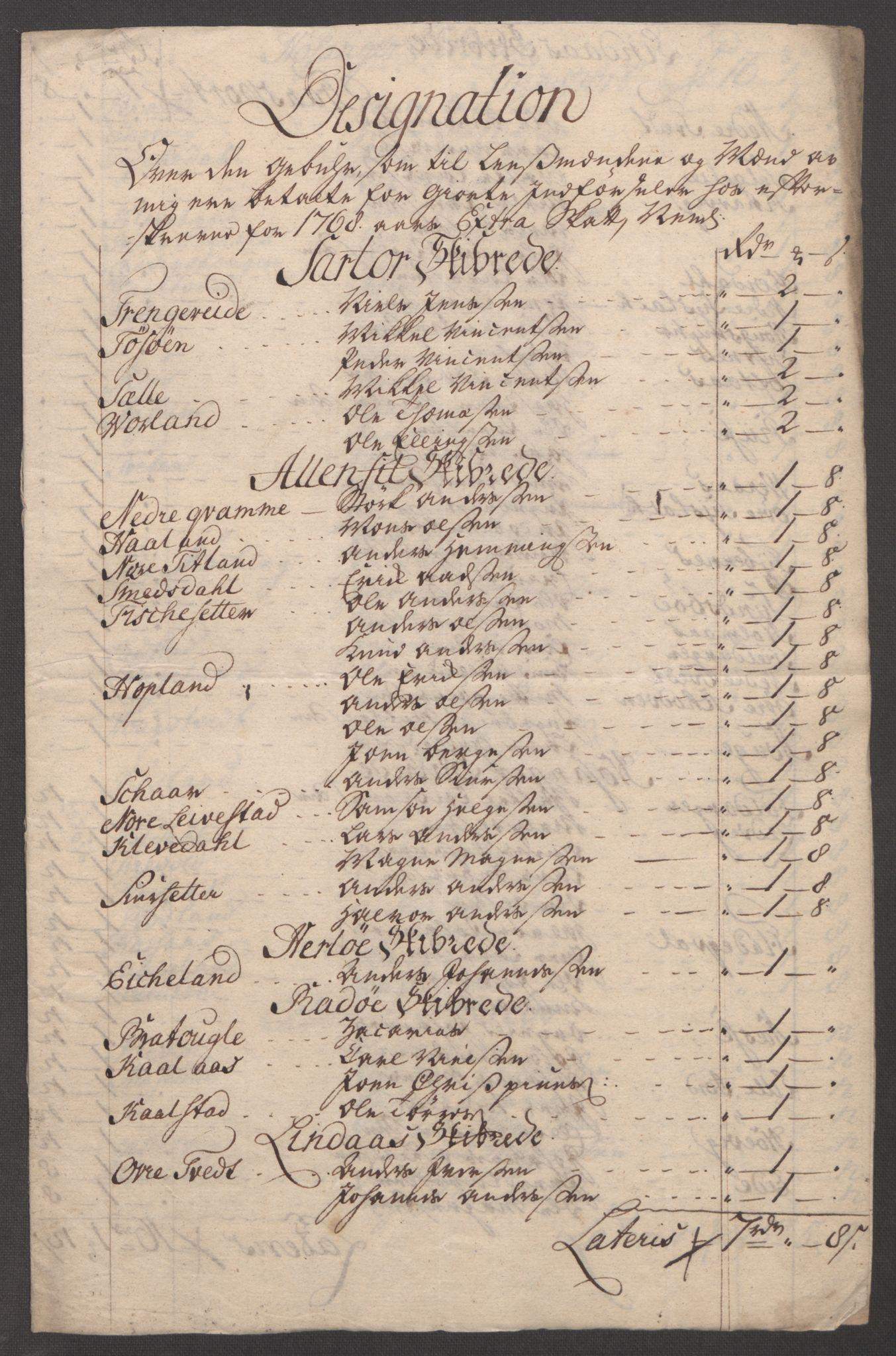 RA, Rentekammeret inntil 1814, Reviderte regnskaper, Fogderegnskap, R51/L3303: Ekstraskatten Nordhordland og Voss, 1762-1772, s. 686