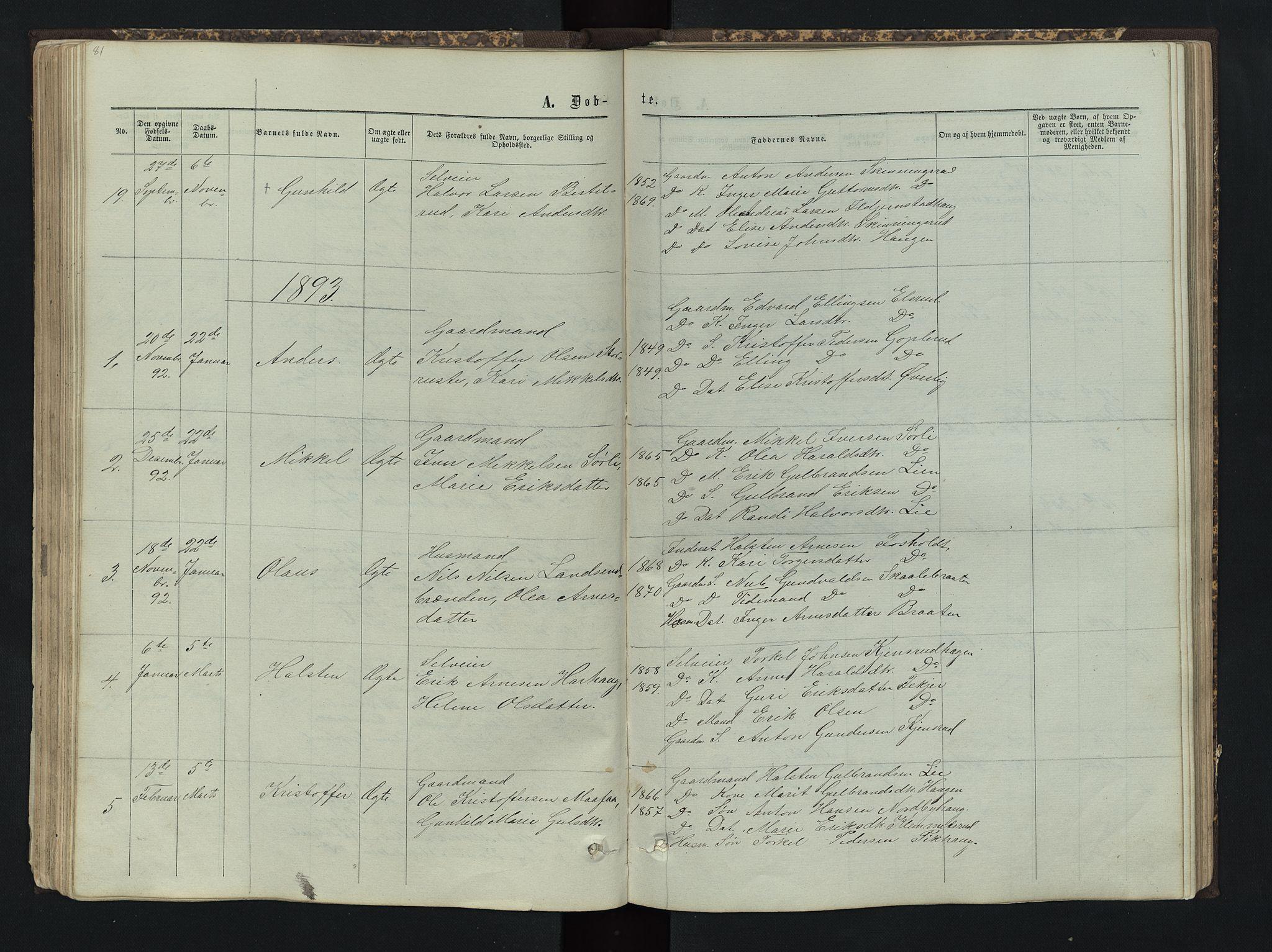 SAH, Sør-Aurdal prestekontor, Klokkerbok nr. 4, 1865-1893, s. 81