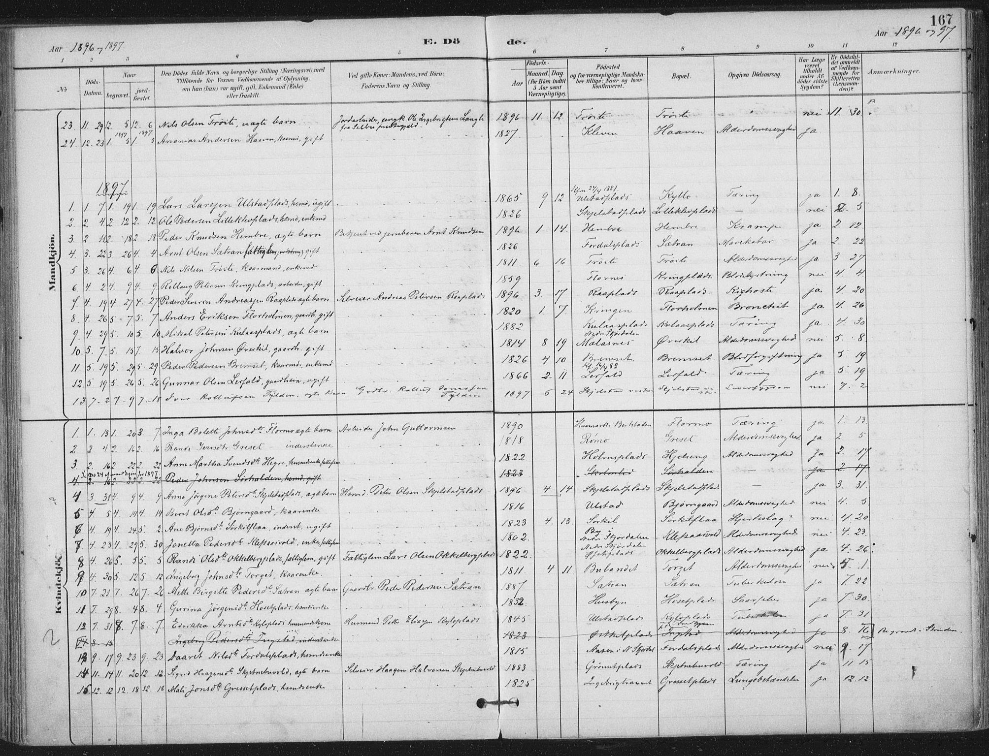 SAT, Ministerialprotokoller, klokkerbøker og fødselsregistre - Nord-Trøndelag, 703/L0031: Ministerialbok nr. 703A04, 1893-1914, s. 167