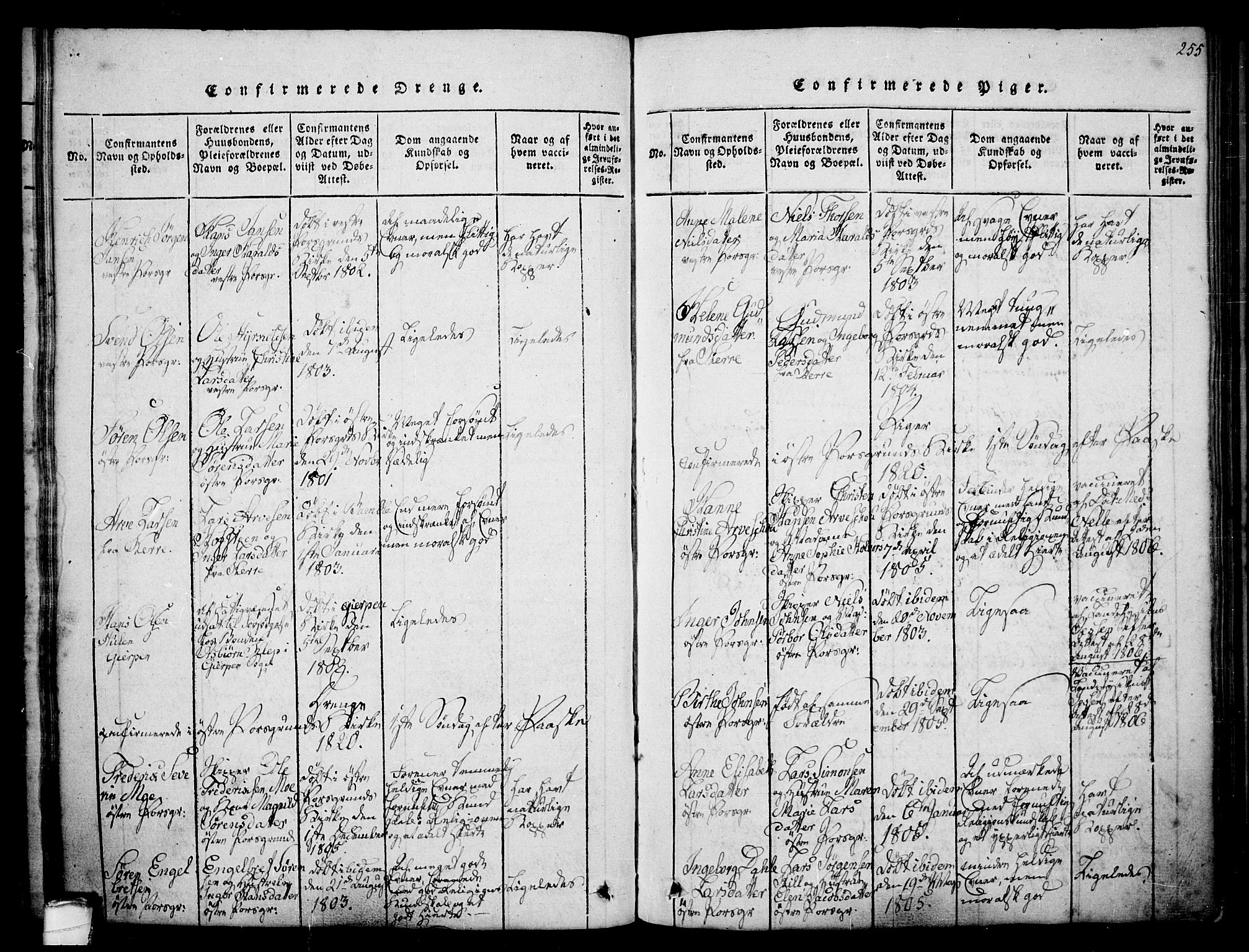 SAKO, Porsgrunn kirkebøker , F/Fa/L0004: Ministerialbok nr. 4, 1814-1828, s. 255