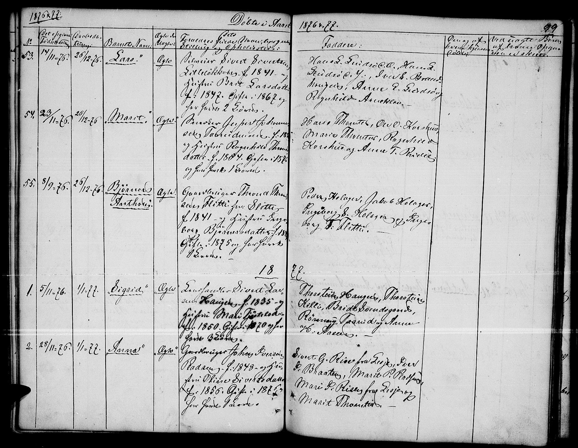 SAH, Dovre prestekontor, Klokkerbok nr. 1, 1862-1880, s. 99