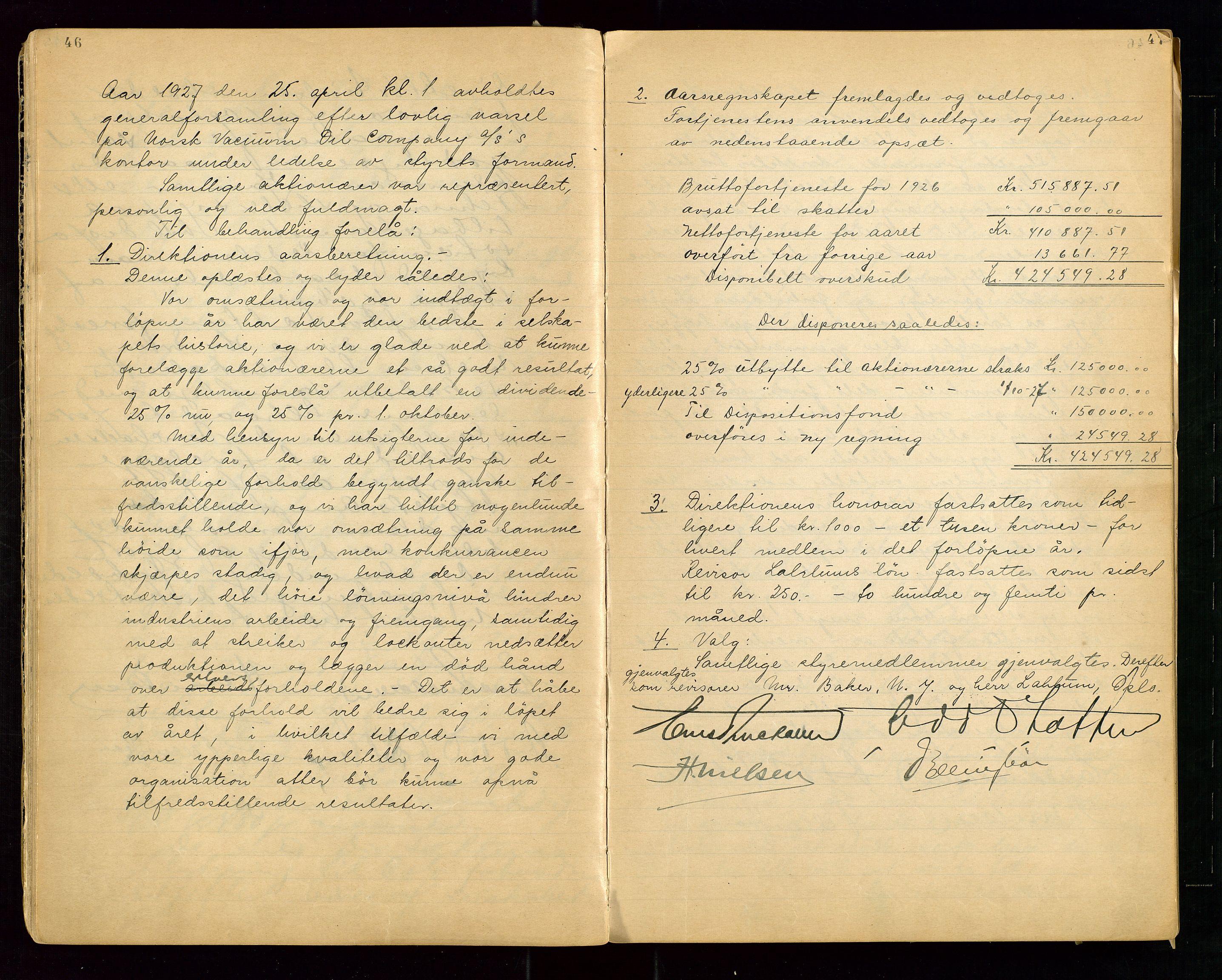 """SAST, PA 1513 - Norsk Vacuum Oil Company A/S, A/L0001: """"Generalforsamlings og styreprotokoll"""" fra 27/4-1918 til 6/4-1949, 1918-1949, s. 46-47"""