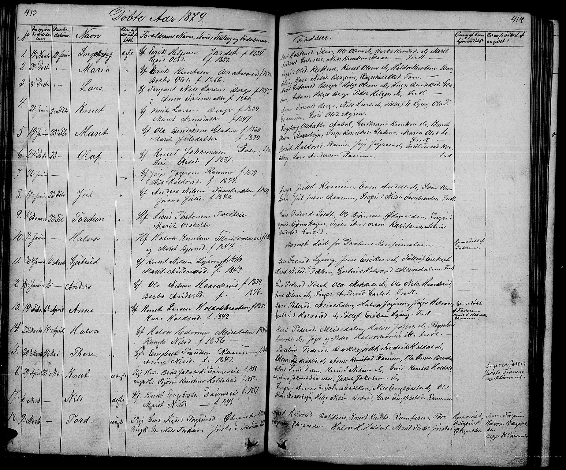 SAH, Nord-Aurdal prestekontor, Klokkerbok nr. 1, 1834-1887, s. 413-414