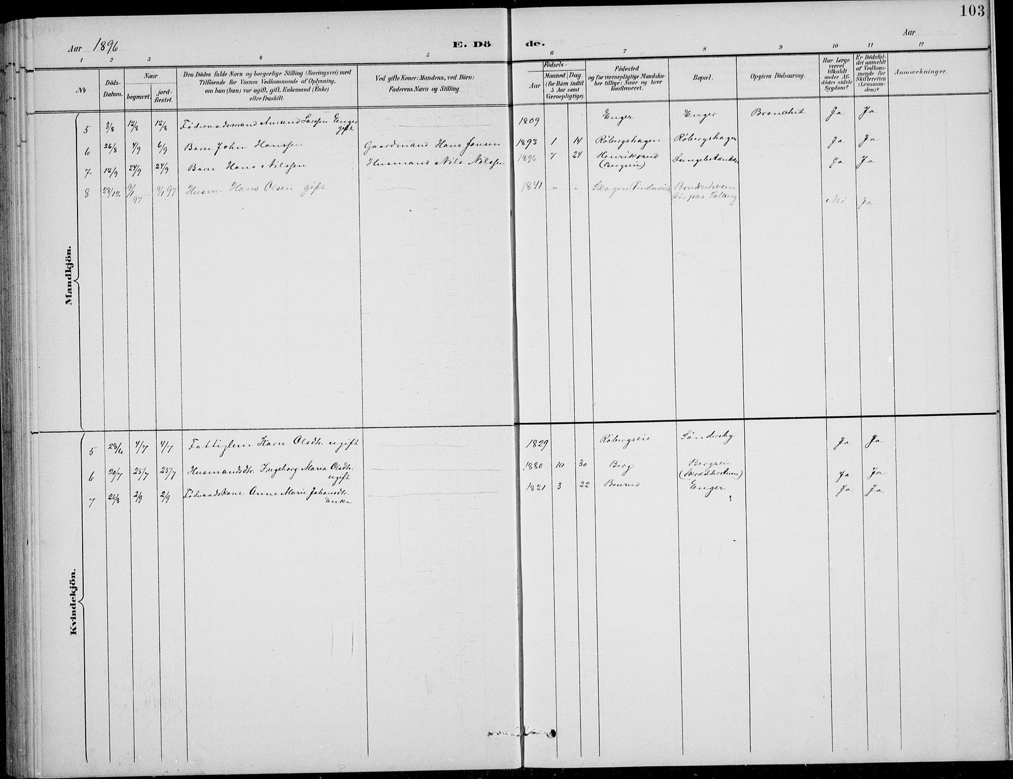 SAH, Nordre Land prestekontor, Klokkerbok nr. 14, 1891-1907, s. 103