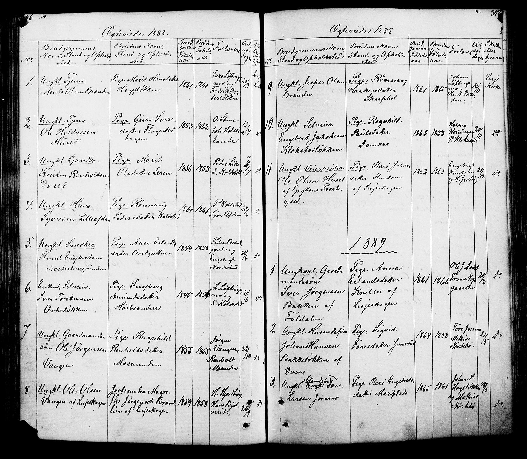 SAH, Lesja prestekontor, Klokkerbok nr. 5, 1850-1894, s. 346-347