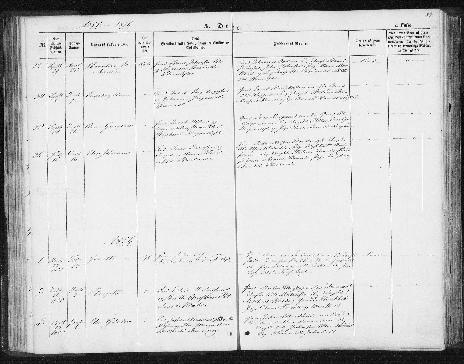 SAT, Ministerialprotokoller, klokkerbøker og fødselsregistre - Nord-Trøndelag, 746/L0446: Ministerialbok nr. 746A05, 1846-1859, s. 84