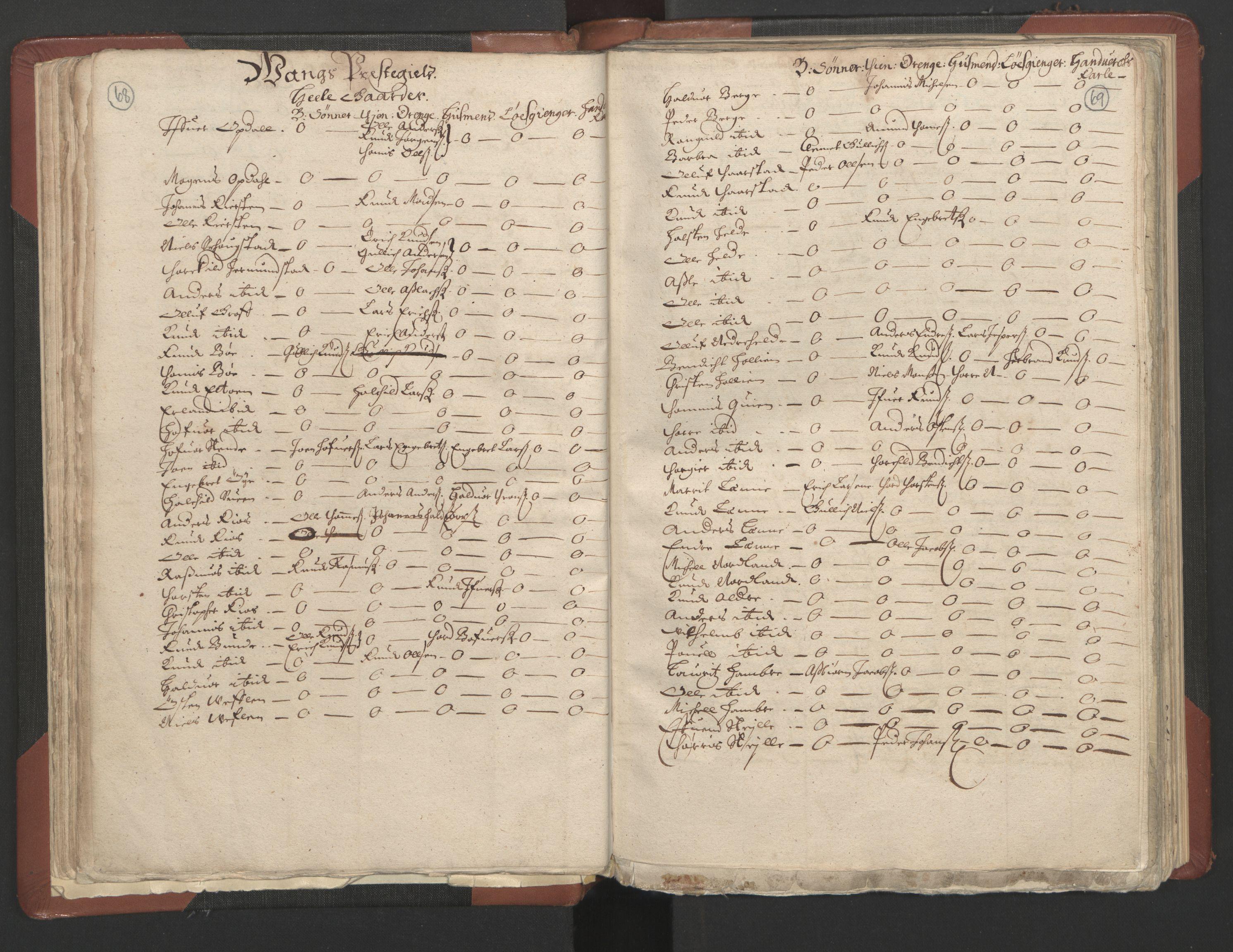 RA, Fogdenes og sorenskrivernes manntall 1664-1666, nr. 4: Hadeland og Valdres fogderi og Gudbrandsdal fogderi, 1664, s. 68-69