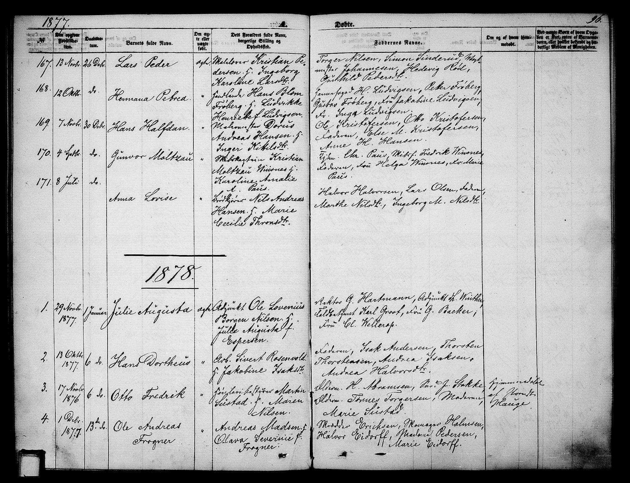 SAKO, Skien kirkebøker, G/Ga/L0005: Klokkerbok nr. 5, 1868-1880, s. 96