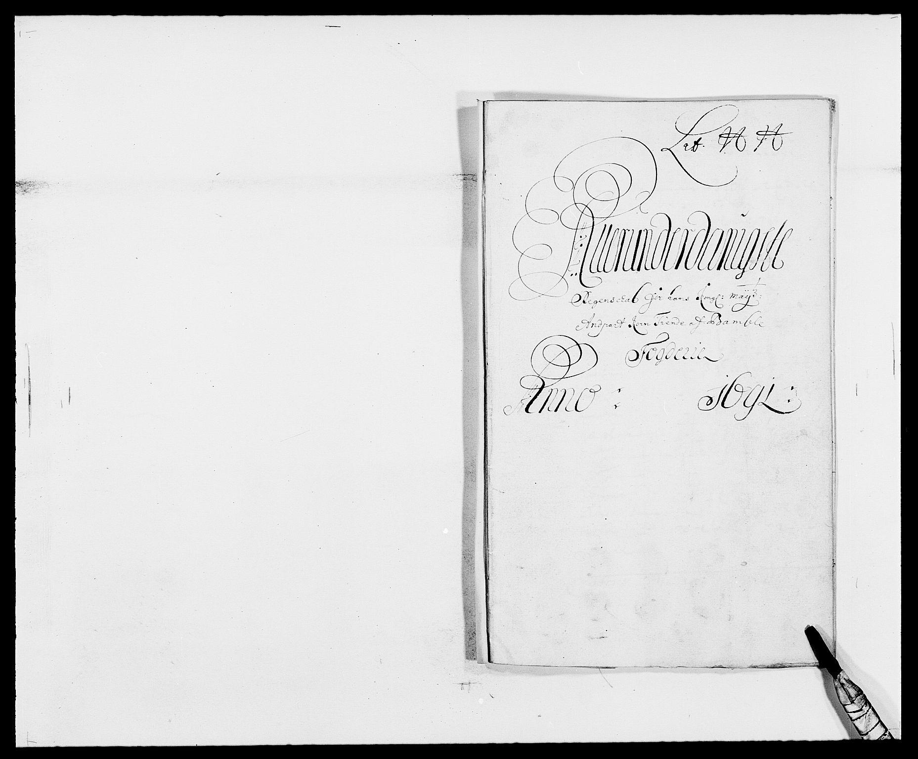 RA, Rentekammeret inntil 1814, Reviderte regnskaper, Fogderegnskap, R34/L2051: Fogderegnskap Bamble, 1688-1691, s. 169