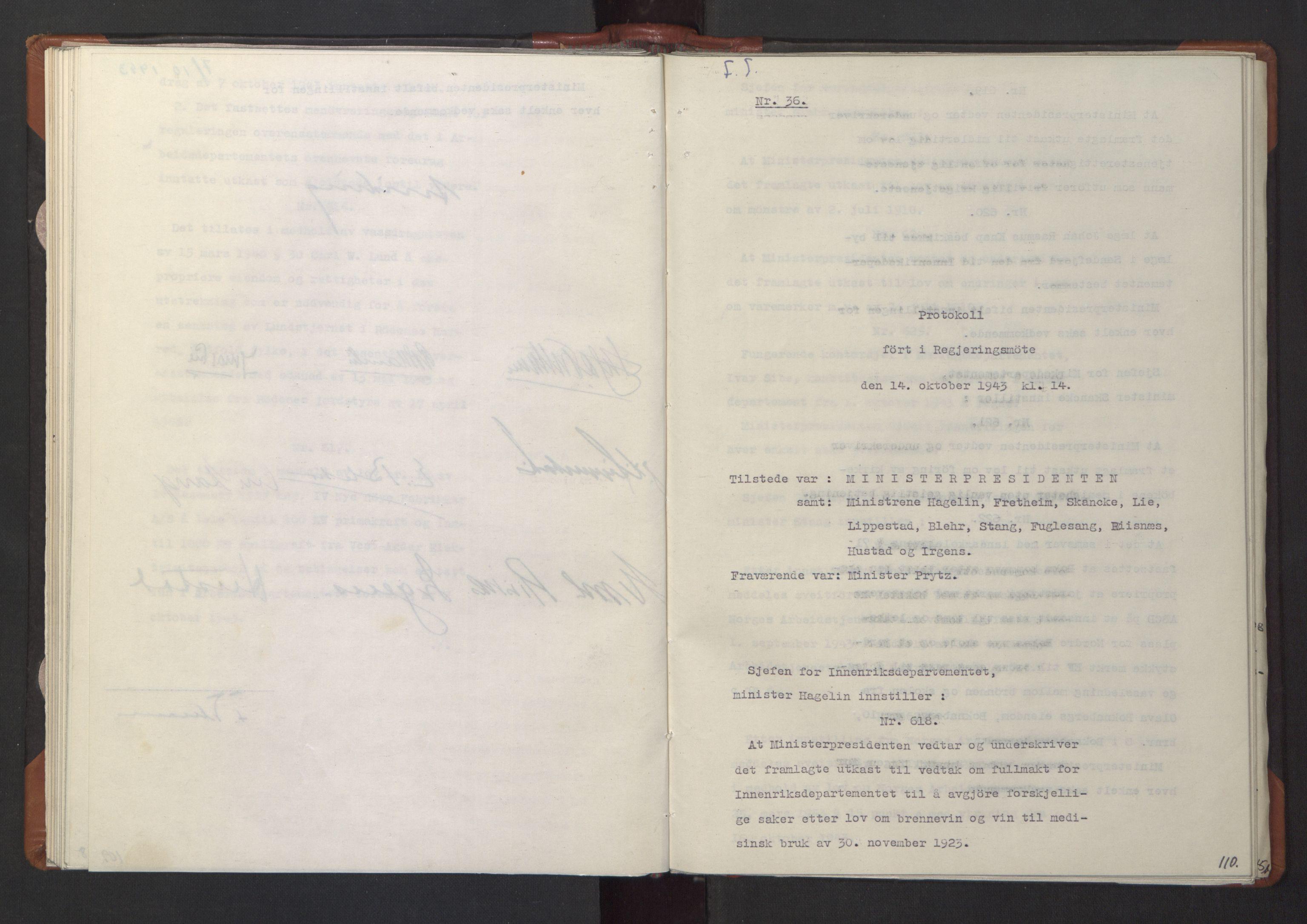 RA, NS-administrasjonen 1940-1945 (Statsrådsekretariatet, de kommisariske statsråder mm), D/Da/L0003: Vedtak (Beslutninger) nr. 1-746 og tillegg nr. 1-47 (RA. j.nr. 1394/1944, tilgangsnr. 8/1944, 1943, s. 109b-110a