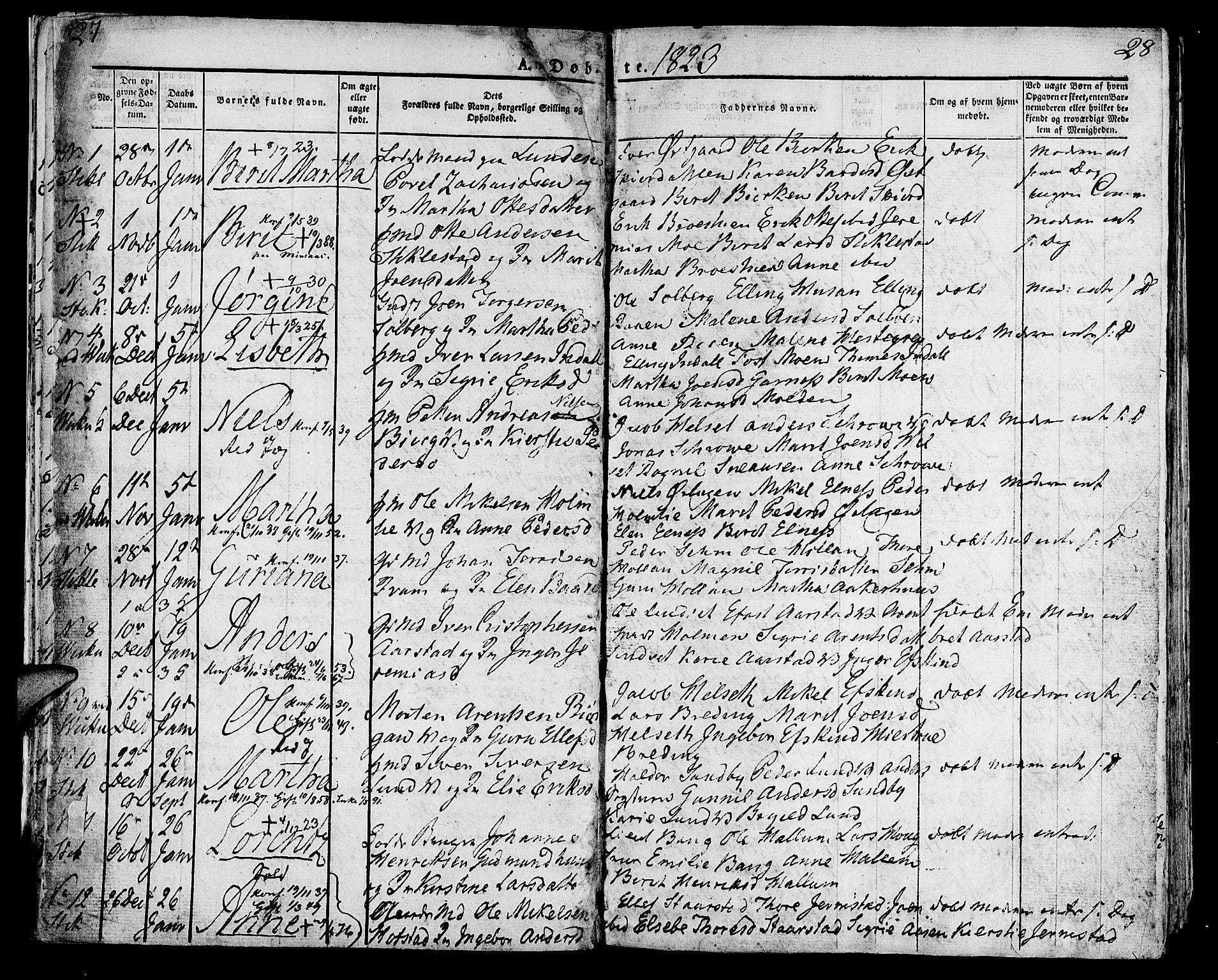 SAT, Ministerialprotokoller, klokkerbøker og fødselsregistre - Nord-Trøndelag, 723/L0237: Ministerialbok nr. 723A06, 1822-1830, s. 27-28