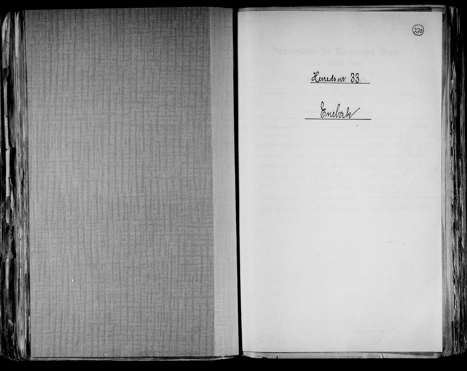 RA, Folketelling 1891 for 0229 Enebakk herred, 1891, s. 1